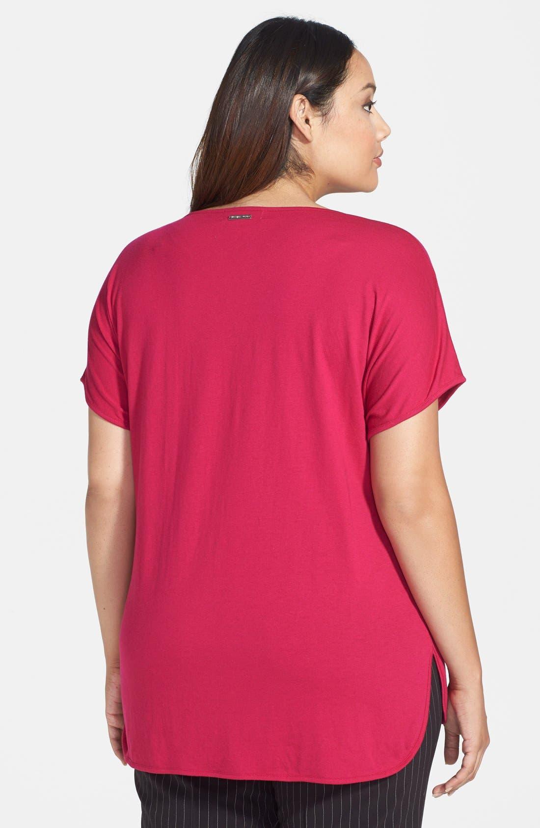 Alternate Image 2  - MICHAEL Michael Kors Short Sleeve V-Neck Top (Plus Size)