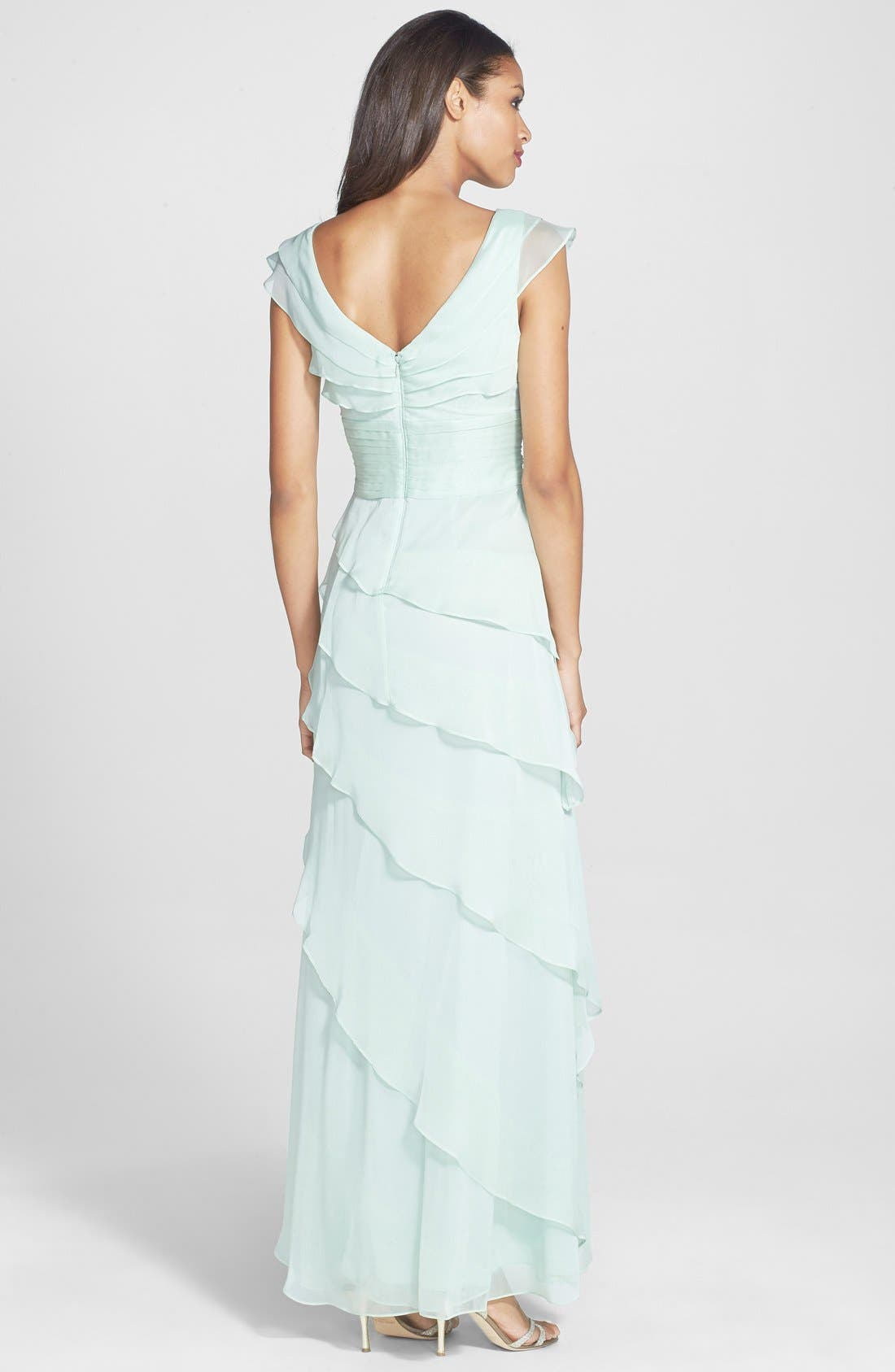 Alternate Image 2  - Adrianna Papell Tiered Chiffon Gown (Regular & Petite)