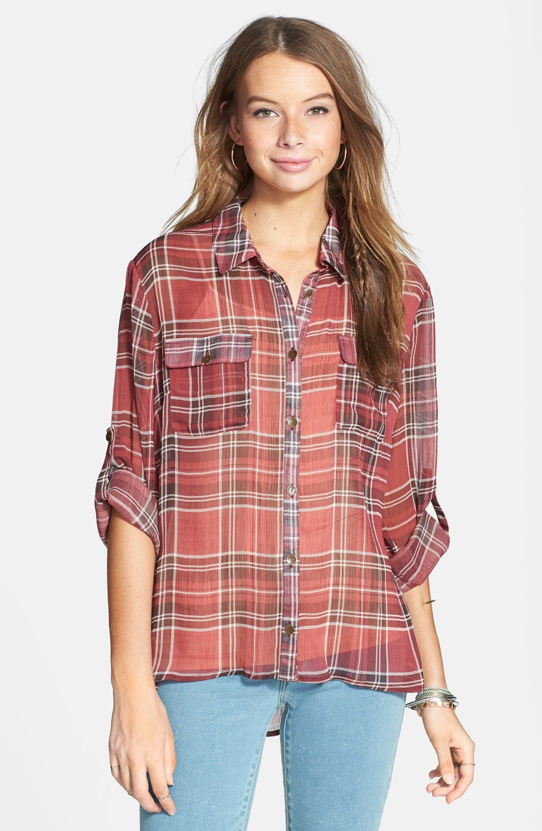 Main Image - Band of Gypsies Plaid Crochet Back Yoke Chiffon Shirt (Juniors)