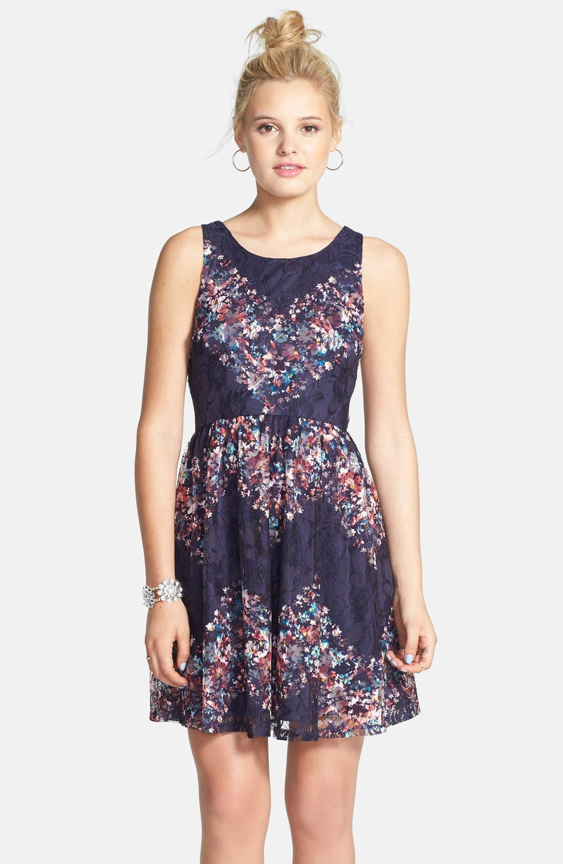Fire Stretch Lace Skater Dress,                         Main,                         color, Navy/ Blush/ Teal
