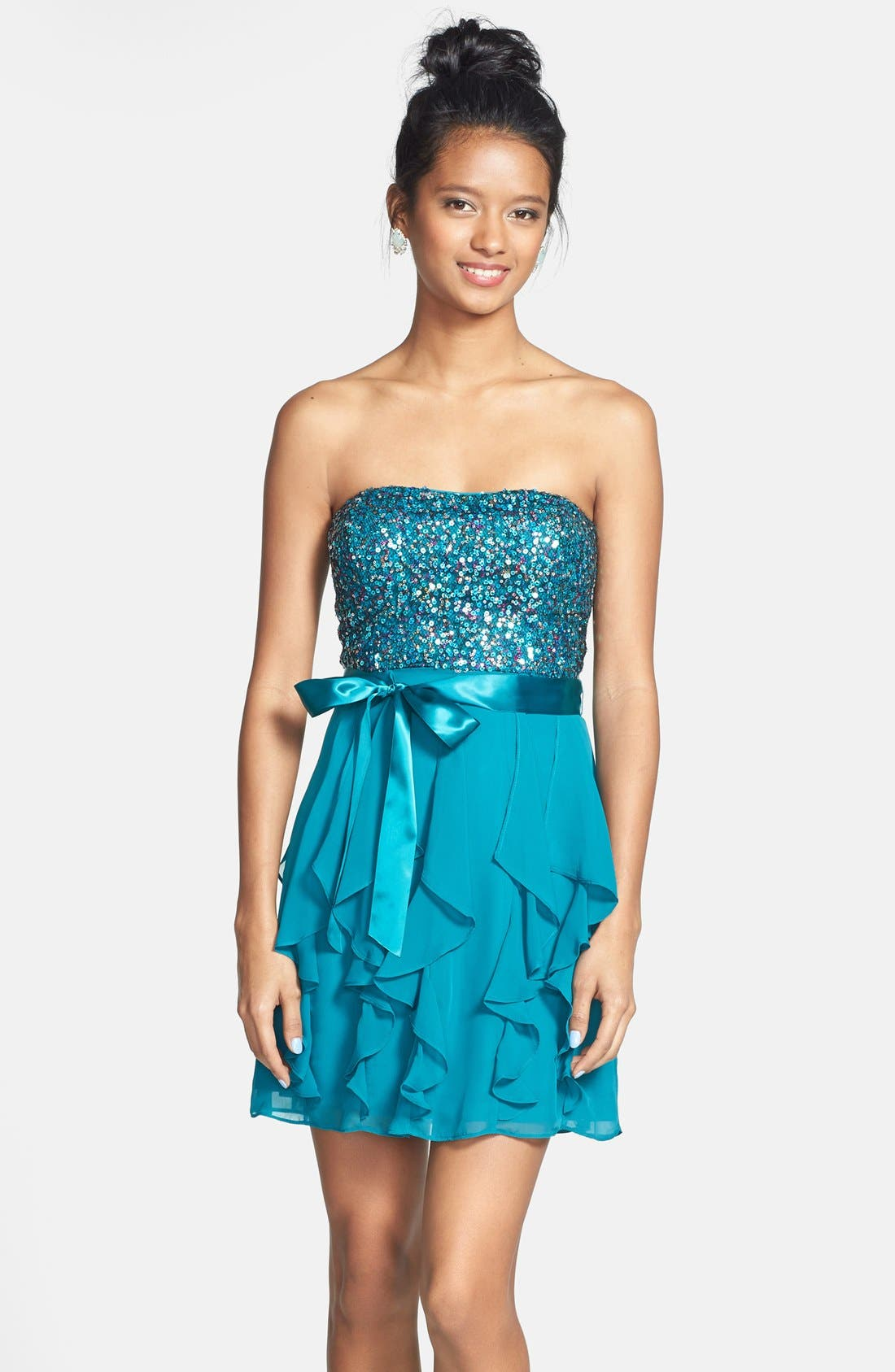 Alternate Image 1 Selected - Hailey Logan Sequin Bodice Ruffle Dress (Juniors) (Online Only)