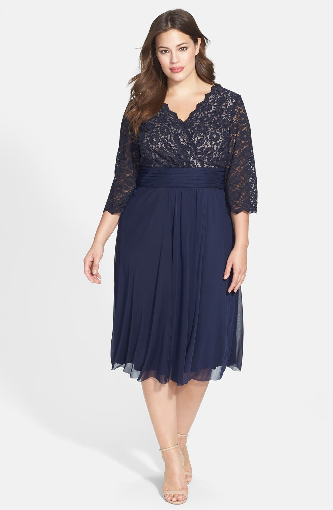 Jessica Howard Lace Amp Chiffon Fit Amp Flare Dress Plus Size Nordstrom