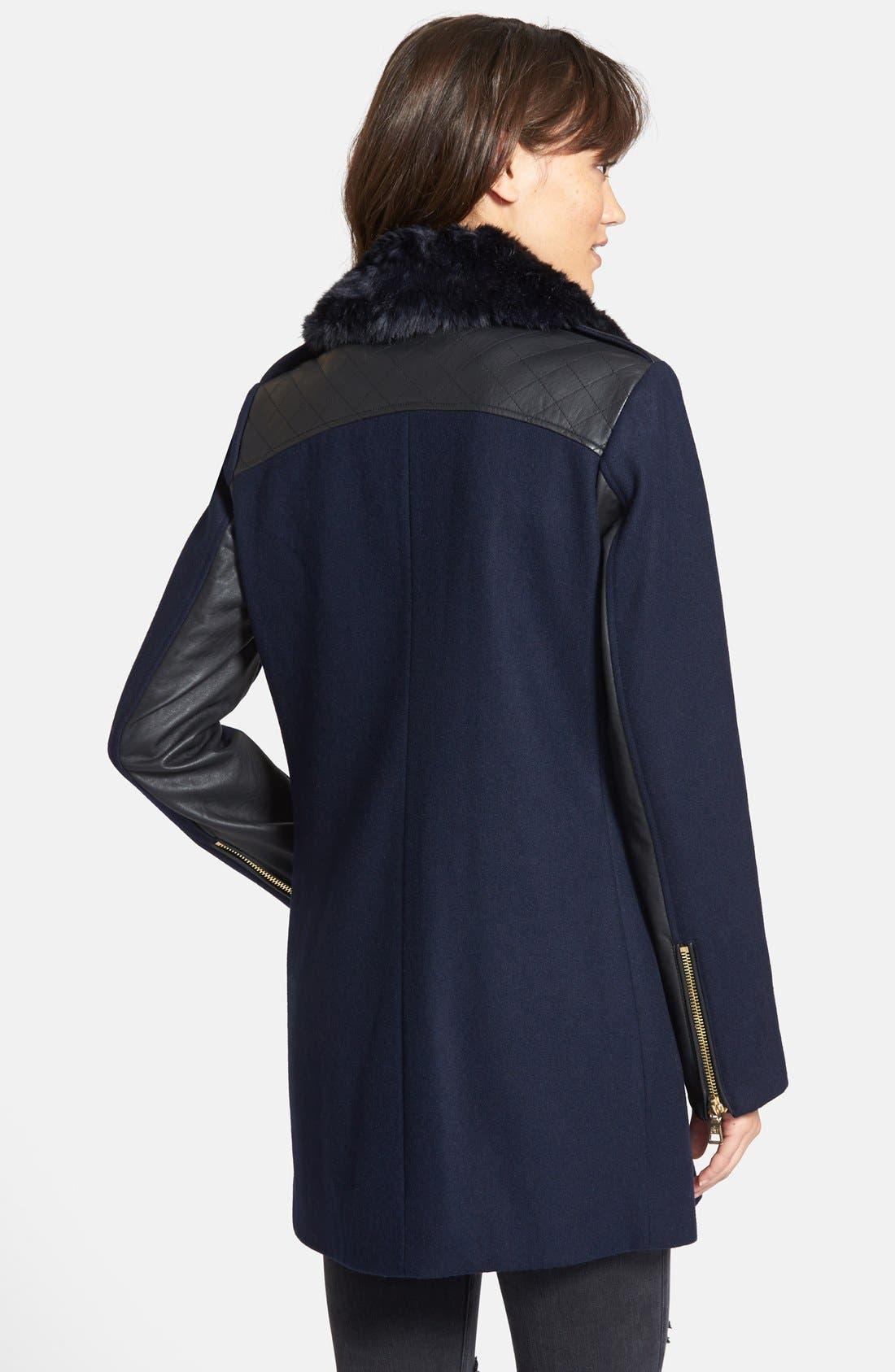 Alternate Image 2  - Sam Edelman 'Leah' Faux Fur & Plaid Trim Asymmetrical Coat
