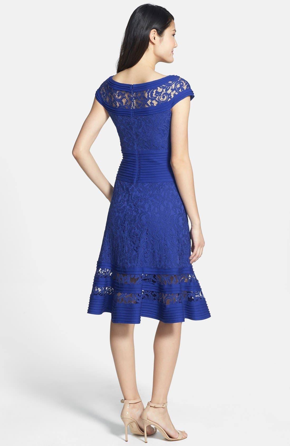 Alternate Image 2  - Tadashi Shoji Cap Sleeve Lace Fit & Flare Dress (Regular & Petite)