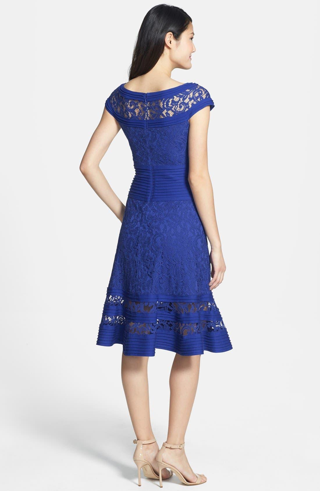 Alternate Image 2  - Tadashi Shoji Cap Sleeve Lace Fit & Flare Dress (Regular & Petite)