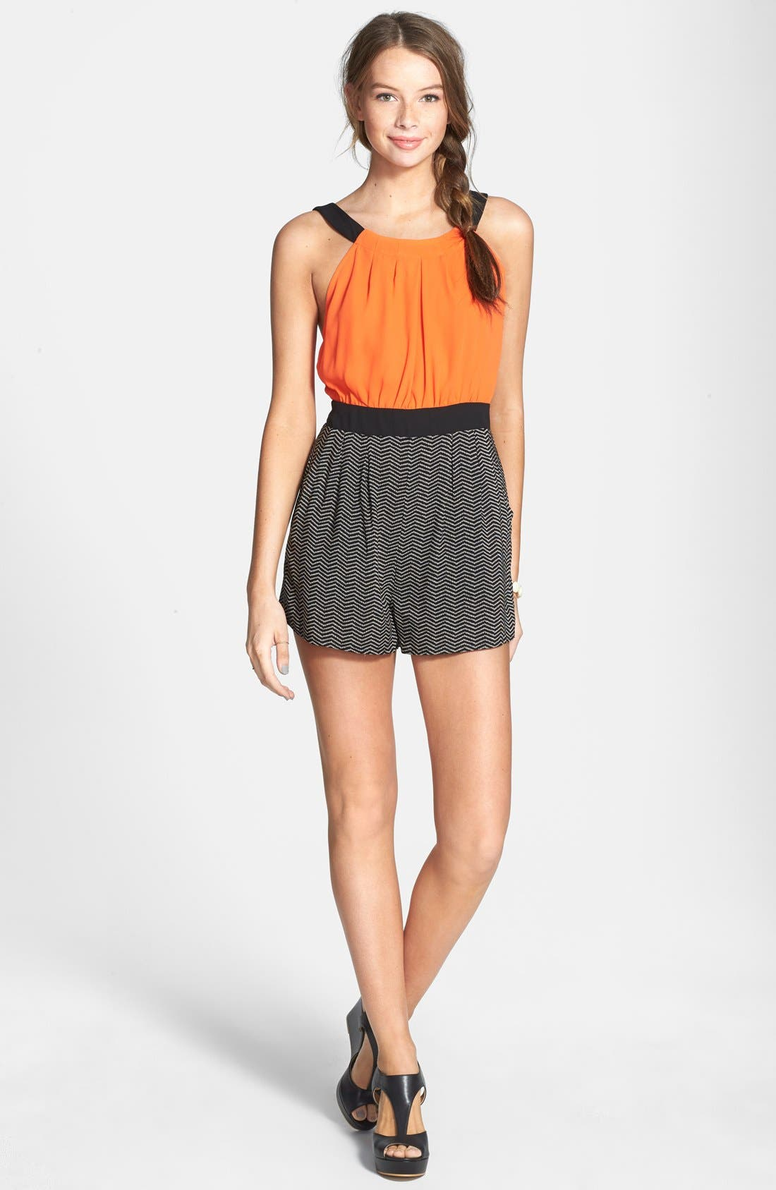 Alternate Image 3  - Hommage Color Block Romper (Juniors)