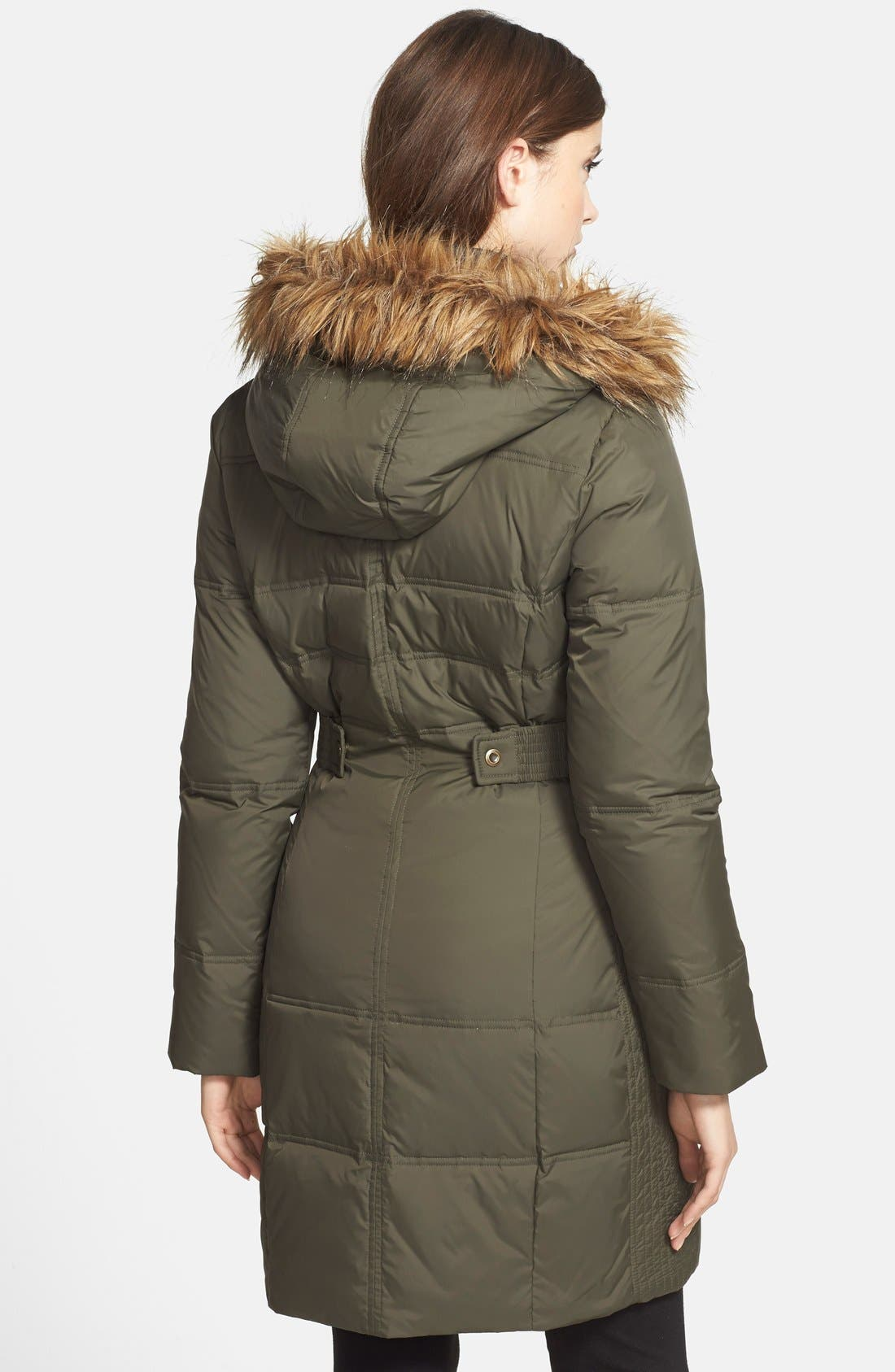 Alternate Image 2  - Larry Levine Faux Fur Trim Quilted Coat with Removable Hood