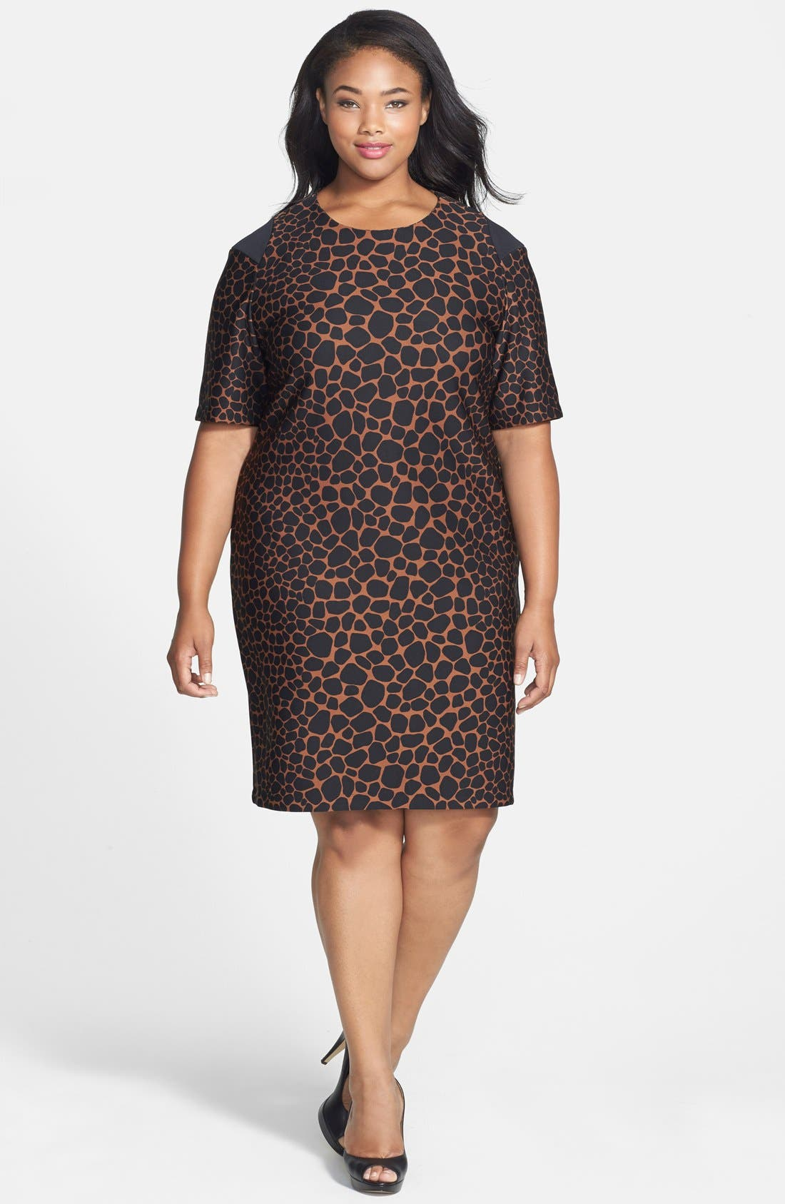 Animal Print Scuba Knit Dress,                             Main thumbnail 1, color,                             Cocoa/ Black
