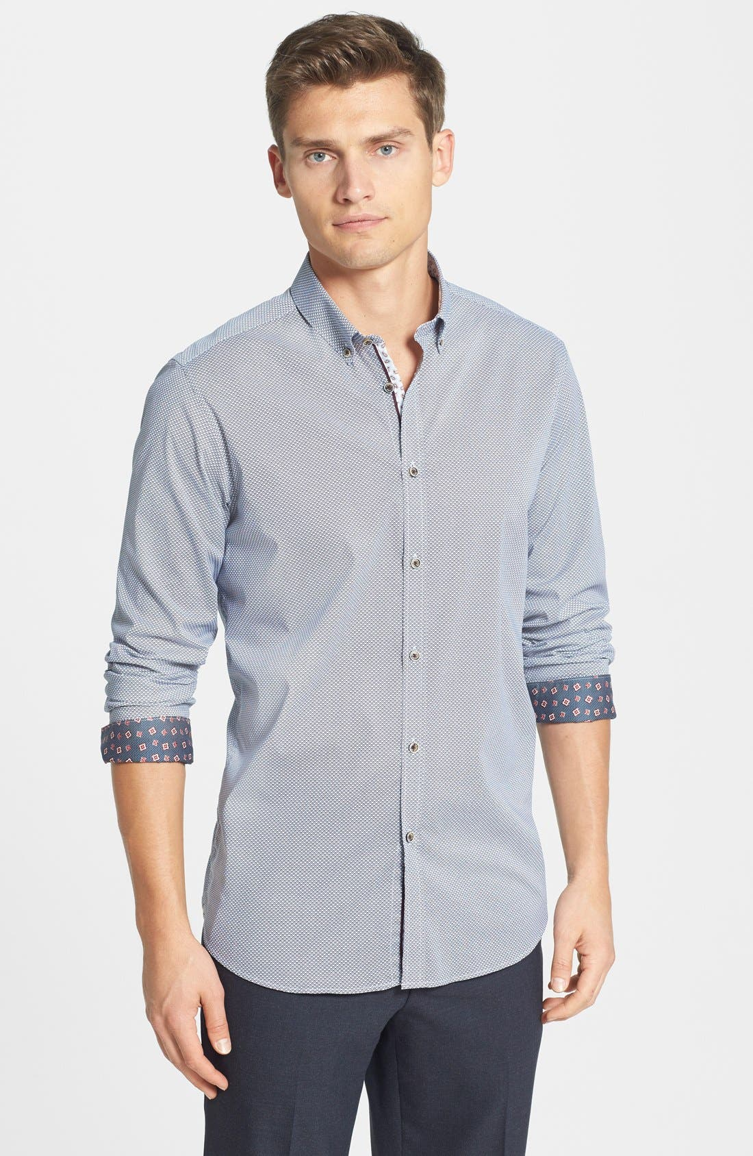 Alternate Image 1 Selected - Ted Baker London 'Bablong' Trim Fit Geometric Sport Shirt