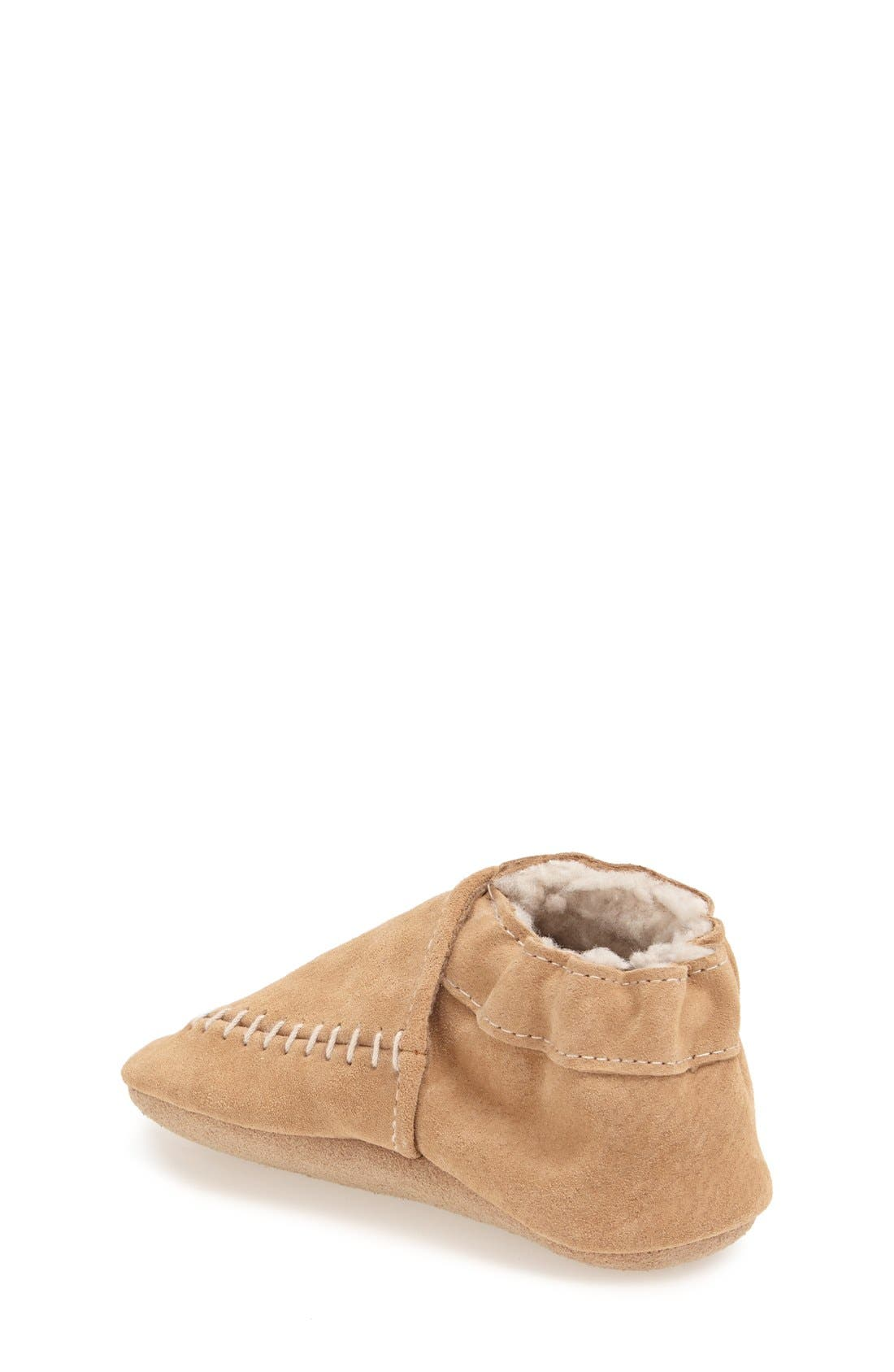 Cozy Moccasin Crib Shoe,                             Alternate thumbnail 2, color,                             Taupe