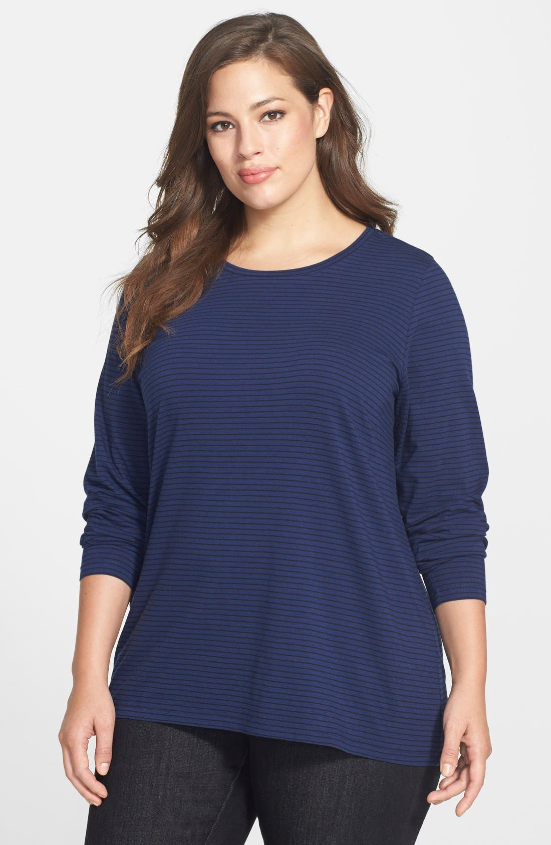 Alternate Image 1 Selected - Sejour Stripe Jersey Tee (Plus Size)