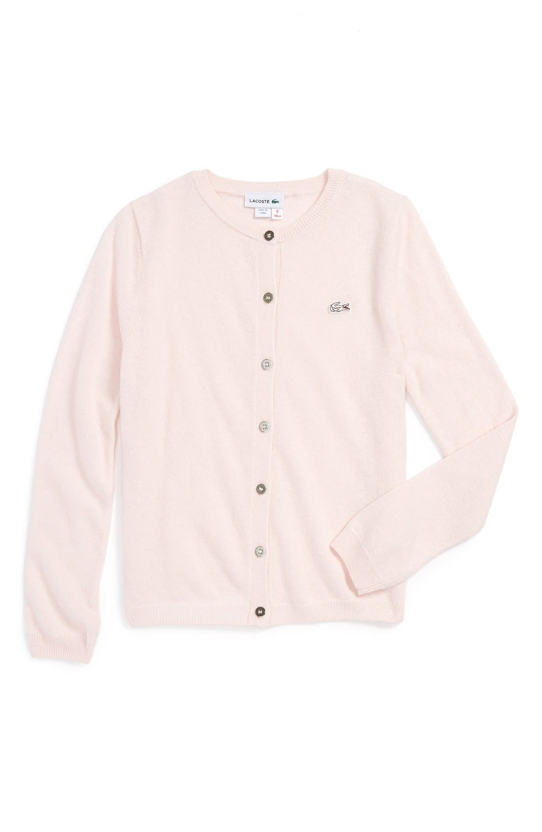 Main Image - Lacoste Knit Cardigan (Little Girls)