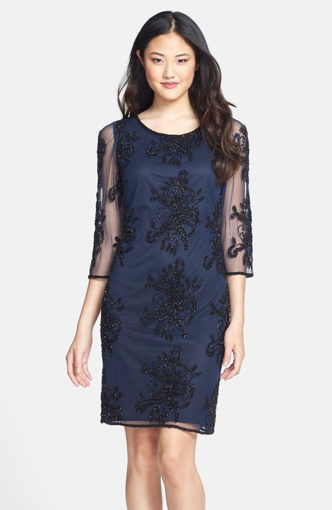 Main Image - Pisarro Nights Embellished Sheer Sleeve Tulle Dress