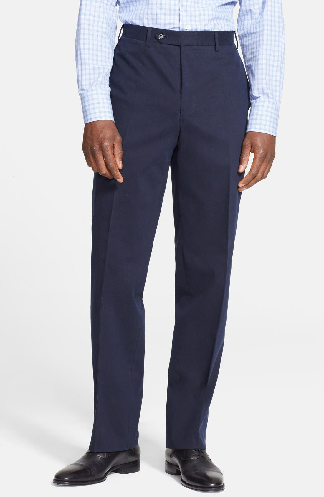 Main Image - Canali Flat Front Stretch Cotton Trousers