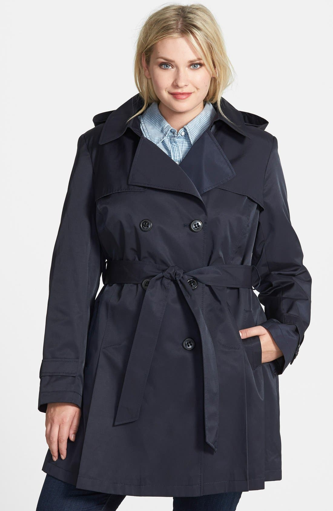 Main Image - DKNY Hooded Skirted Trench Coat (Plus Size)