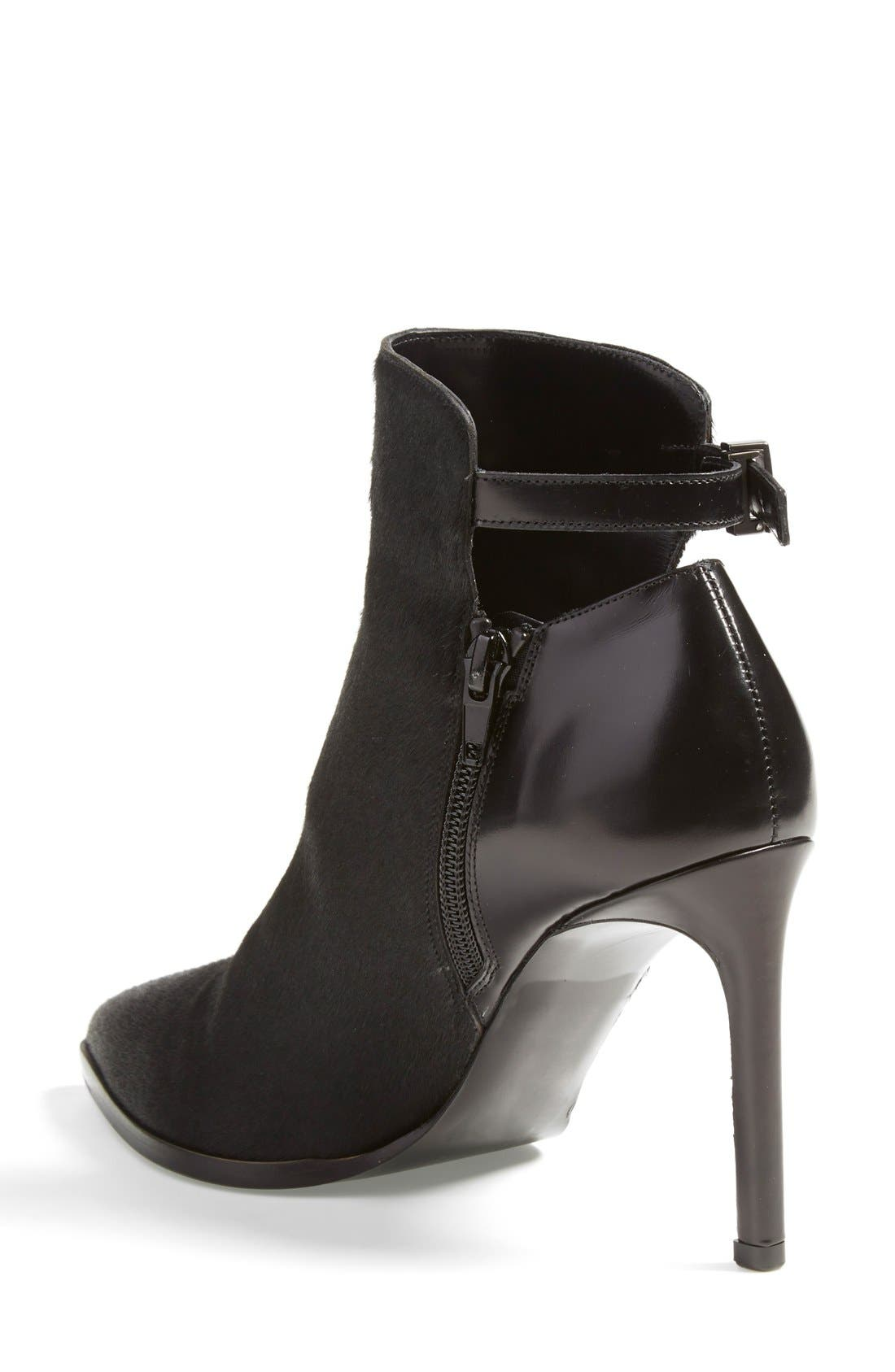 'Calla' Leather & Calf Hair Bootie,                             Alternate thumbnail 2, color,                             Black