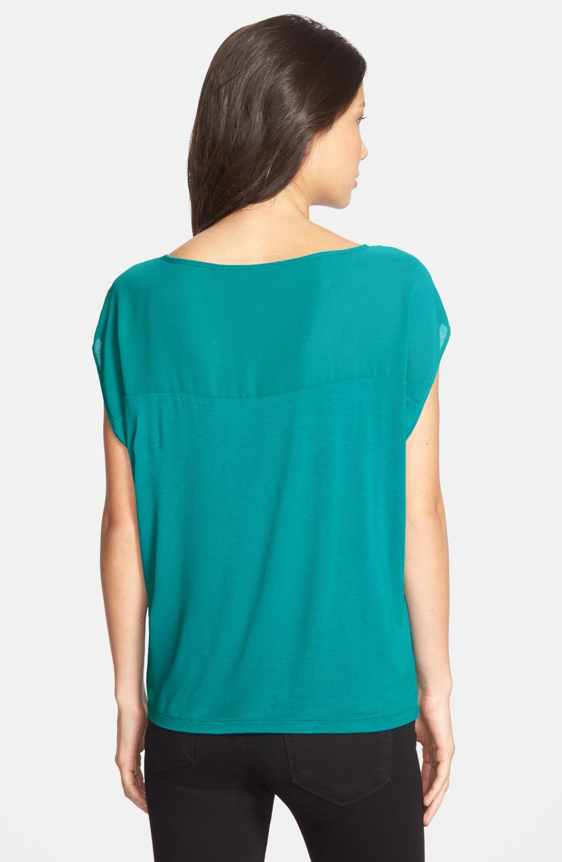 Alternate Image 2  - Adrianna Papell Chiffon Inset Slouchy Jersey Top
