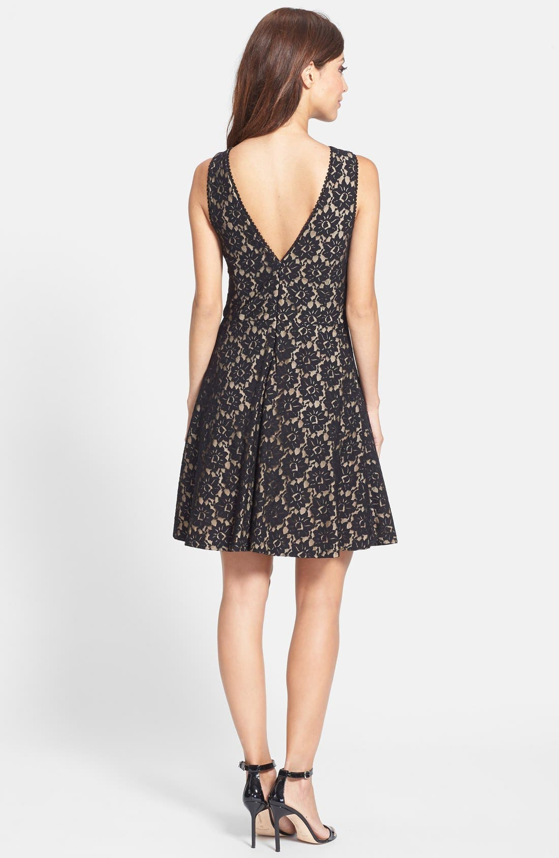Alternate Image 2  - Nicole Miller Lace Fit & Flare Dress