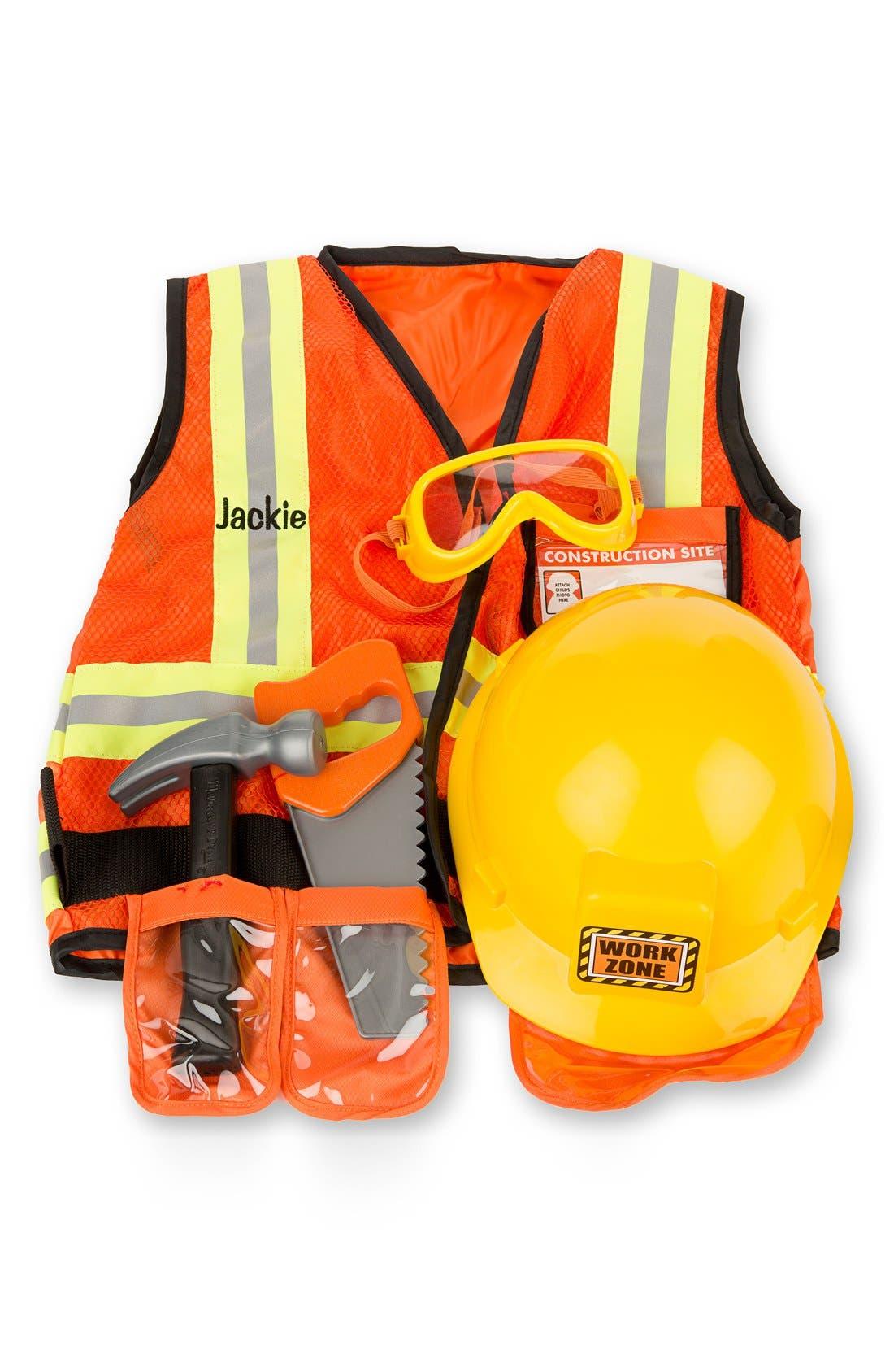 'Construction Worker' Personalized Costume Set,                         Main,                         color, Orange