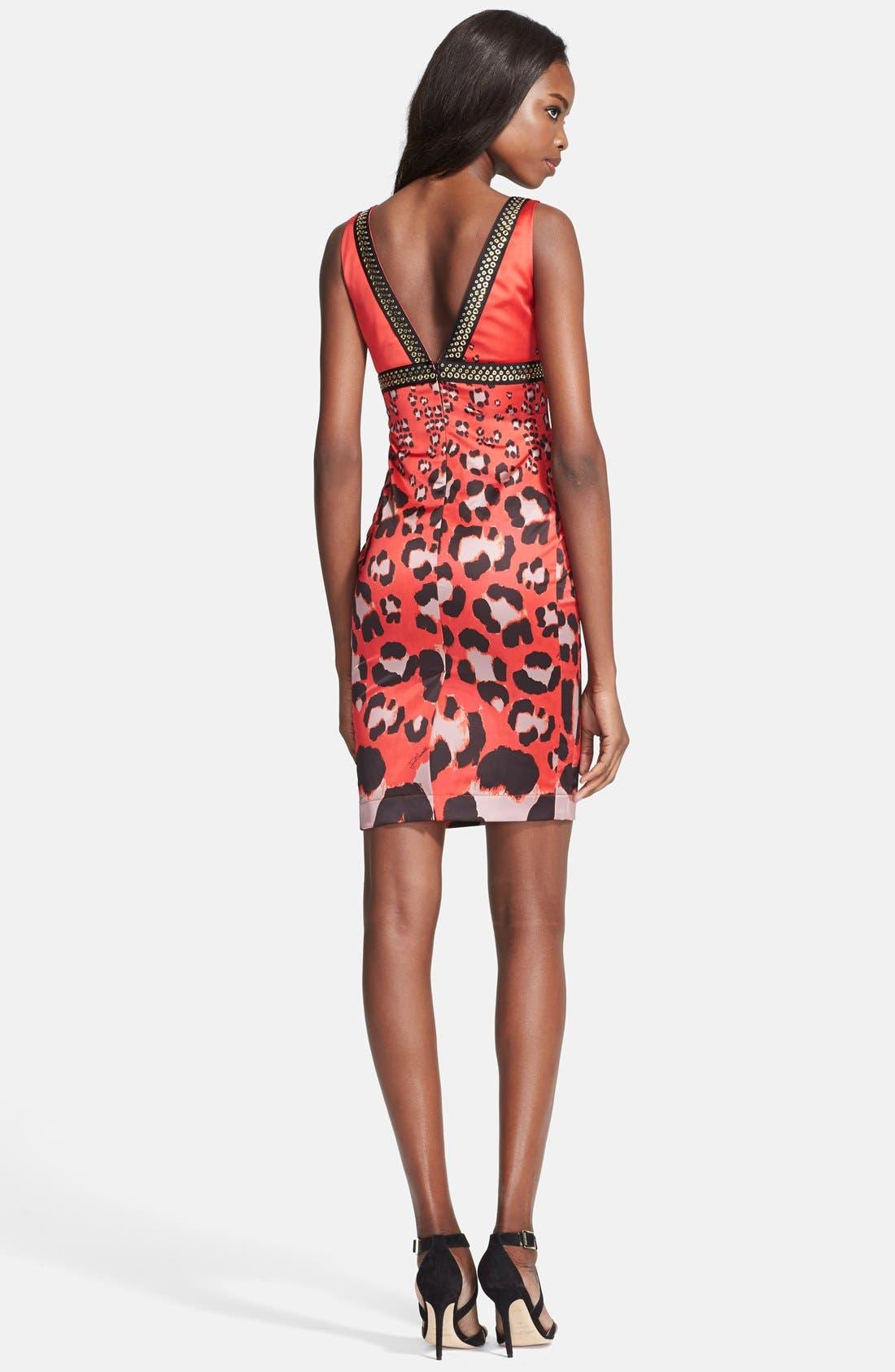 Alternate Image 2  - Just Cavalli Embellished Print Satin Sheath Dress