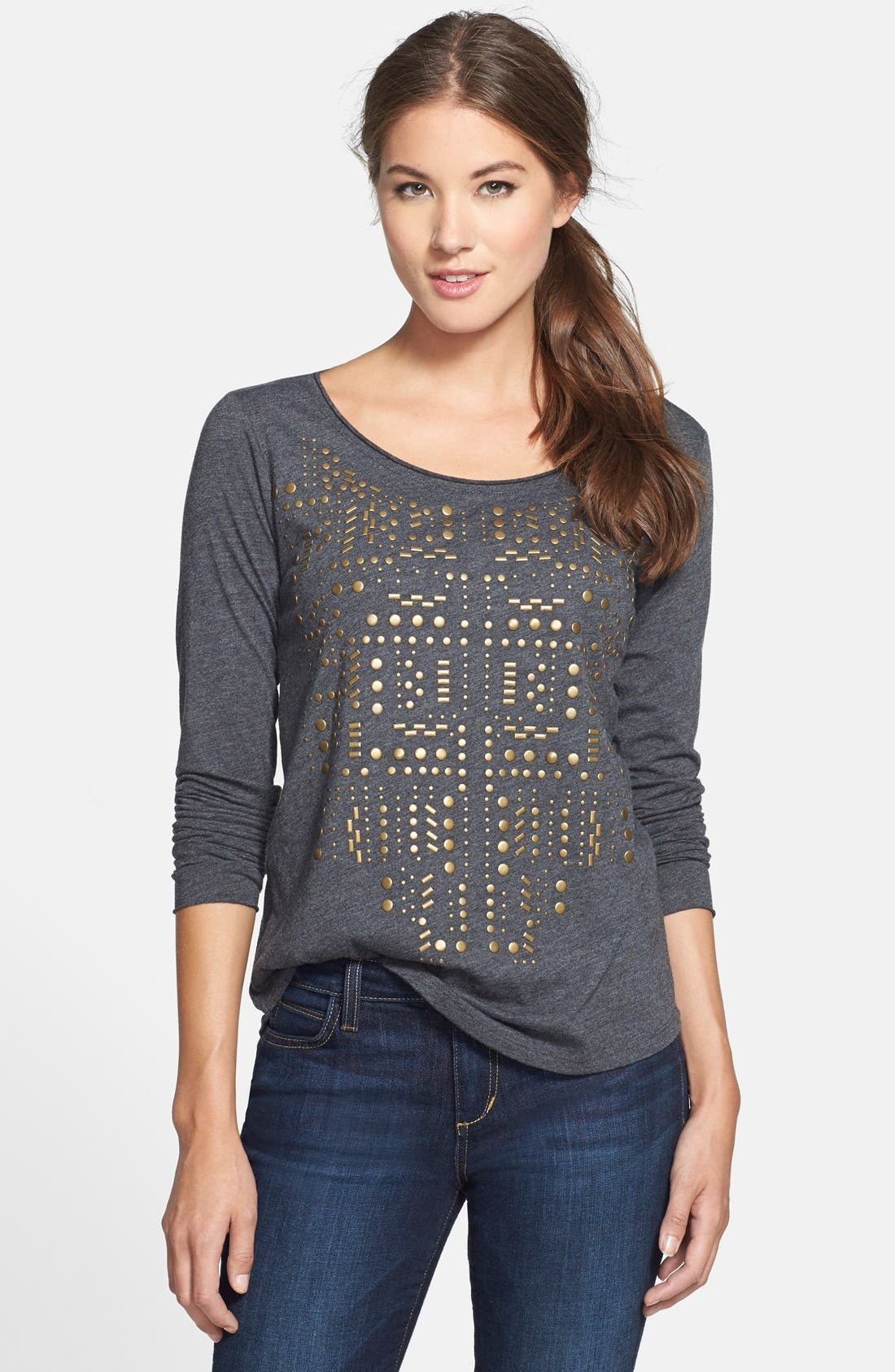 Alternate Image 1 Selected - Lucky Brand Stud Front Tee