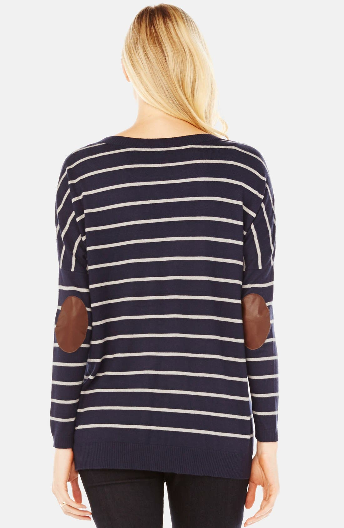 'Whitney' Maternity Sweater,                             Alternate thumbnail 2, color,                             Navy/ Grey Stripe