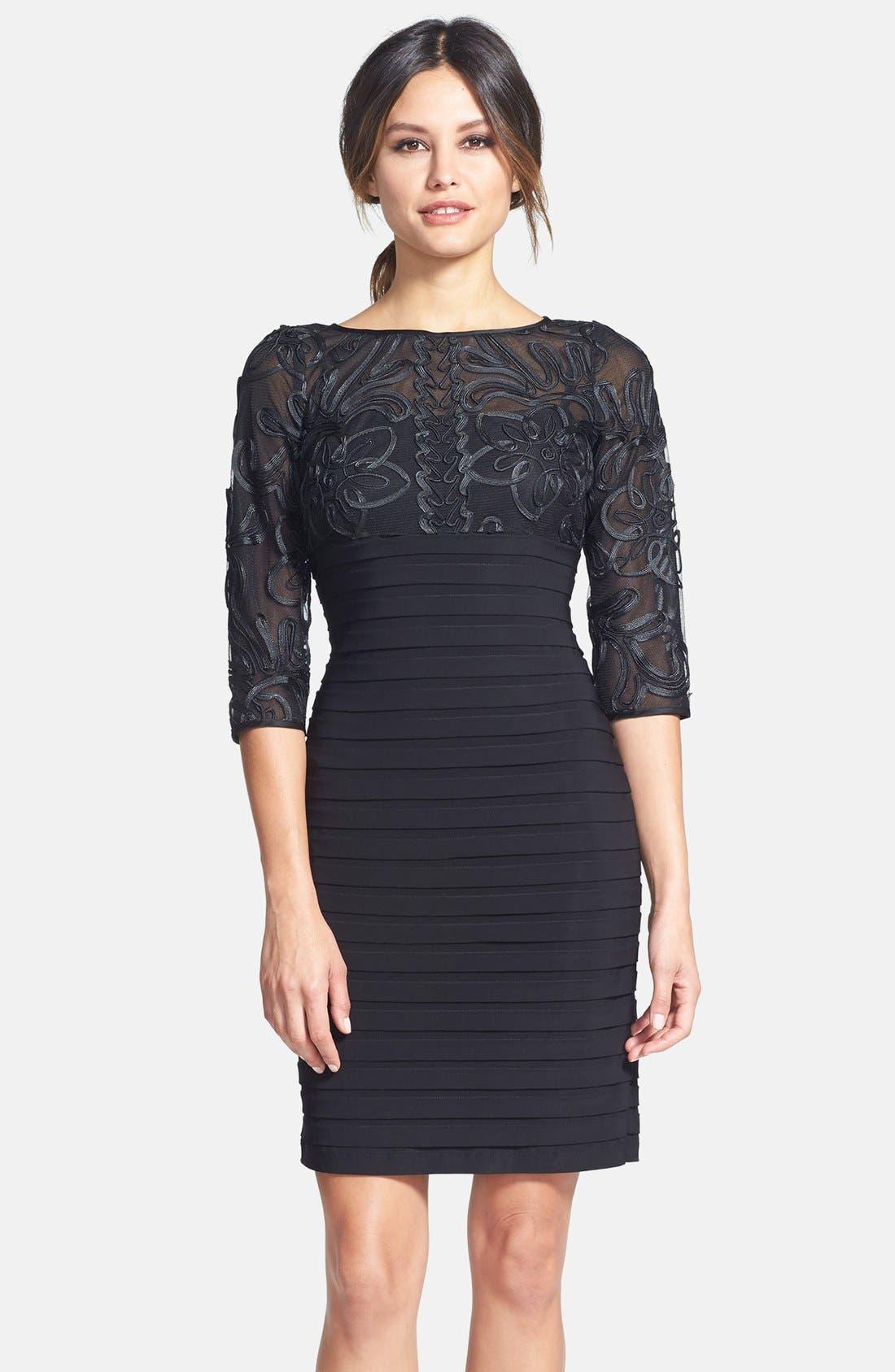 Soutache Shutter Pleat Sheath Dress,                             Main thumbnail 1, color,                             Black