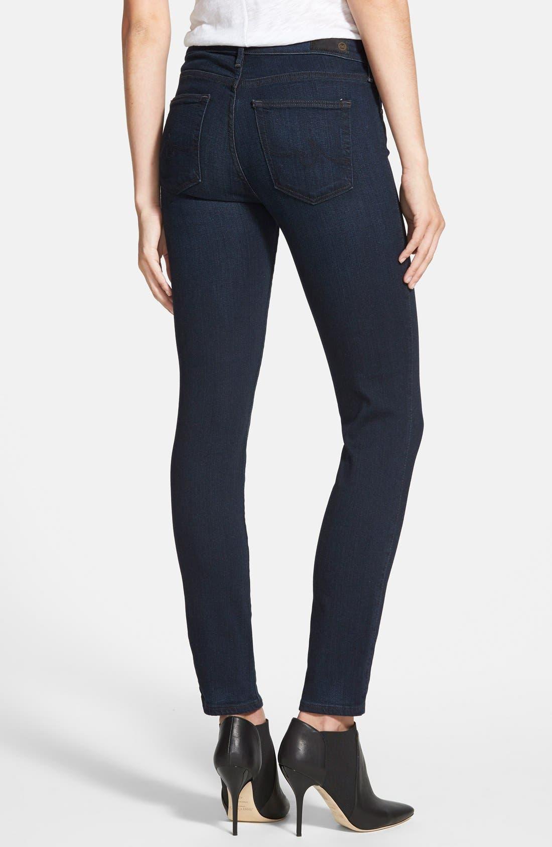'Prima' Mid Rise Skinny Jeans,                             Alternate thumbnail 2, color,                             Jet Setter