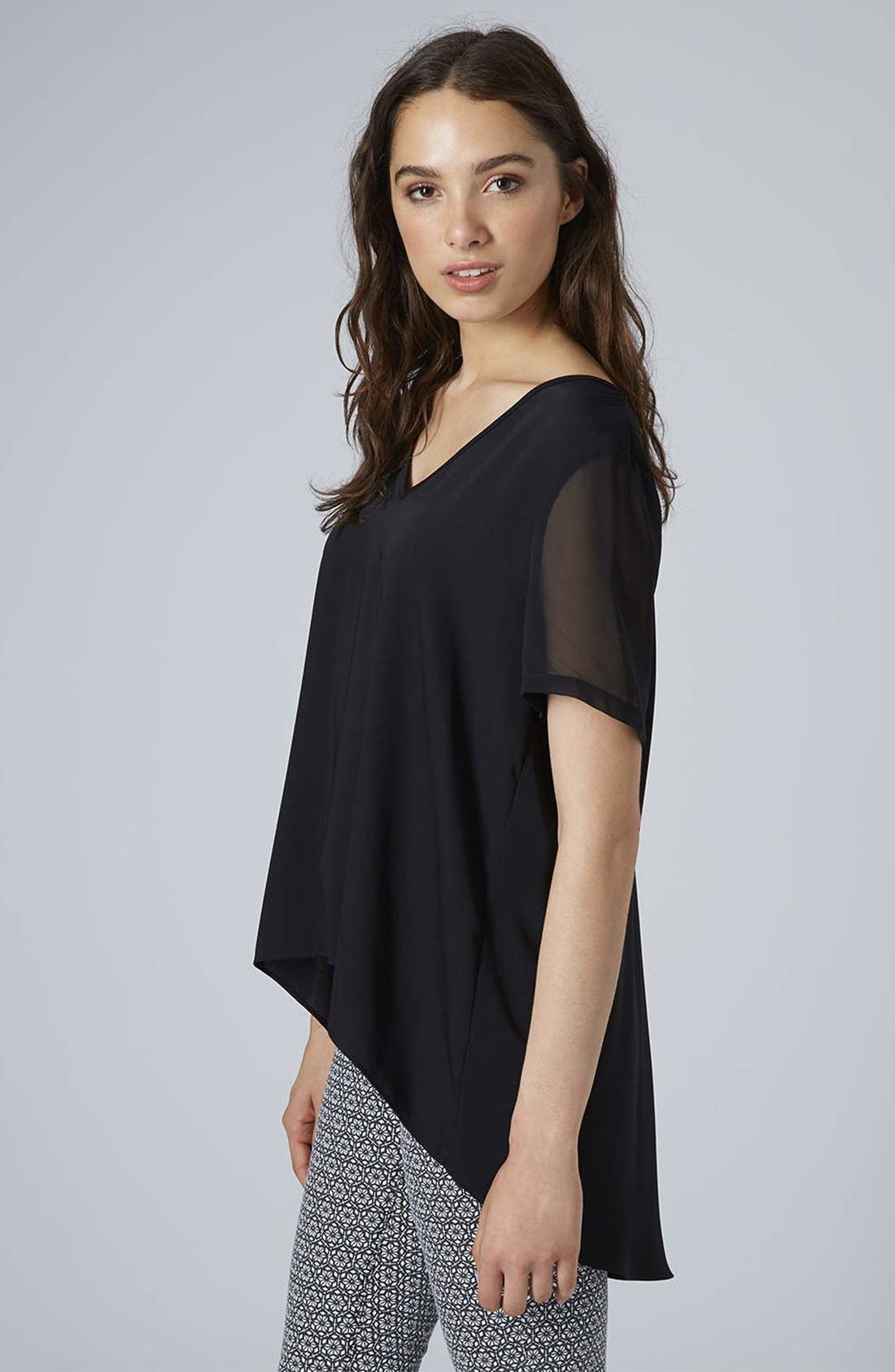 Main Image - Topshop Chiffon Sleeve High/Low Top