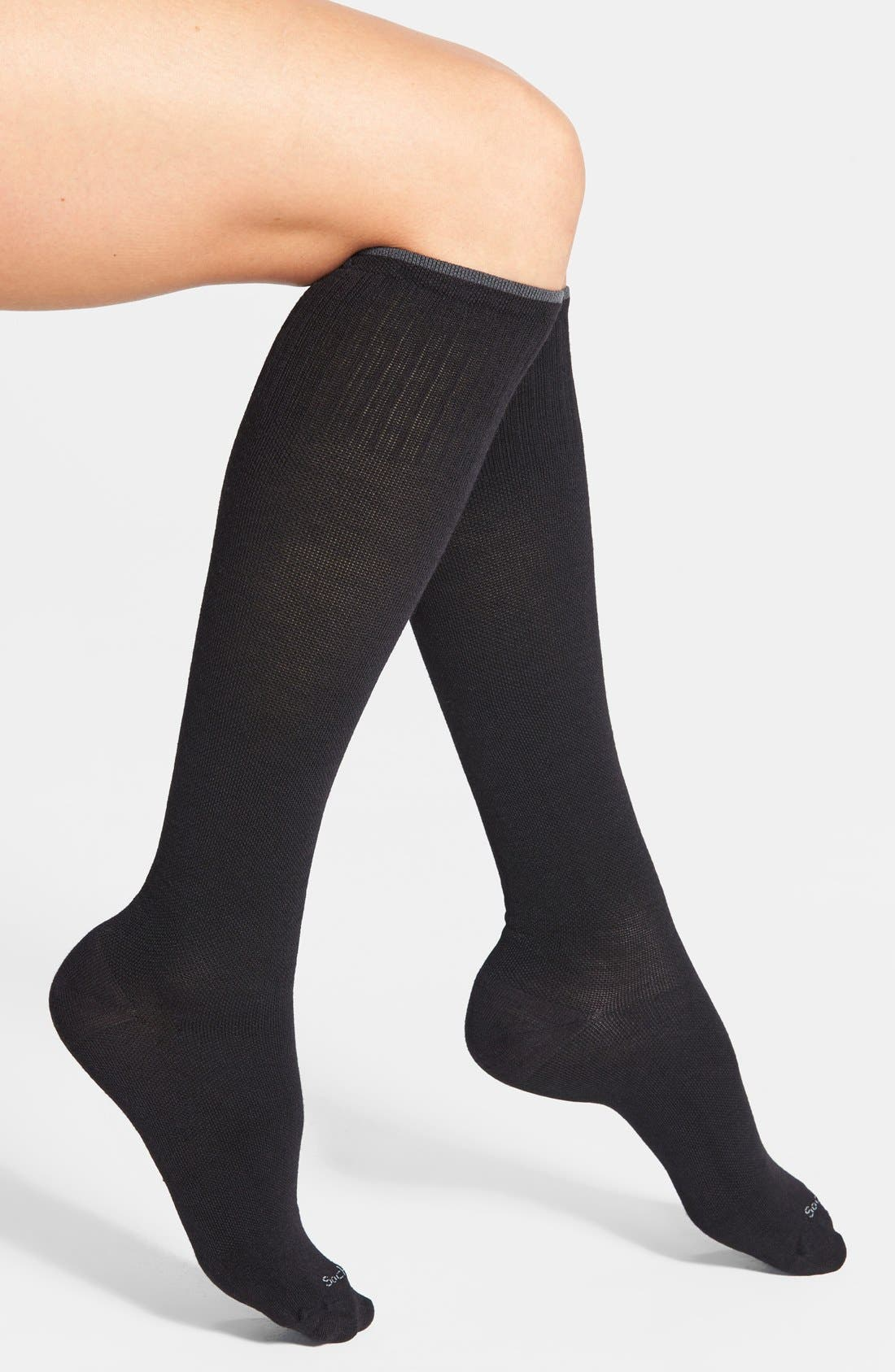 'Goodhew - On the Spot' Compression Knee Socks,                             Main thumbnail 1, color,                             Black Solid