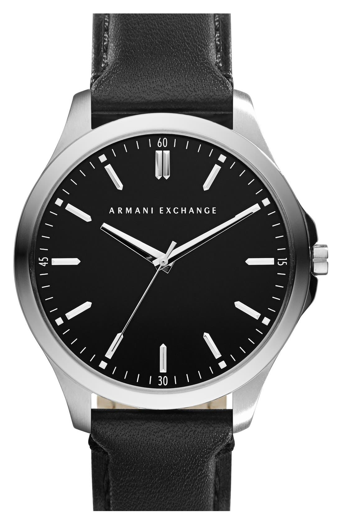 Main Image - AX Armani Exchange Round Leather Strap Watch, 45mm