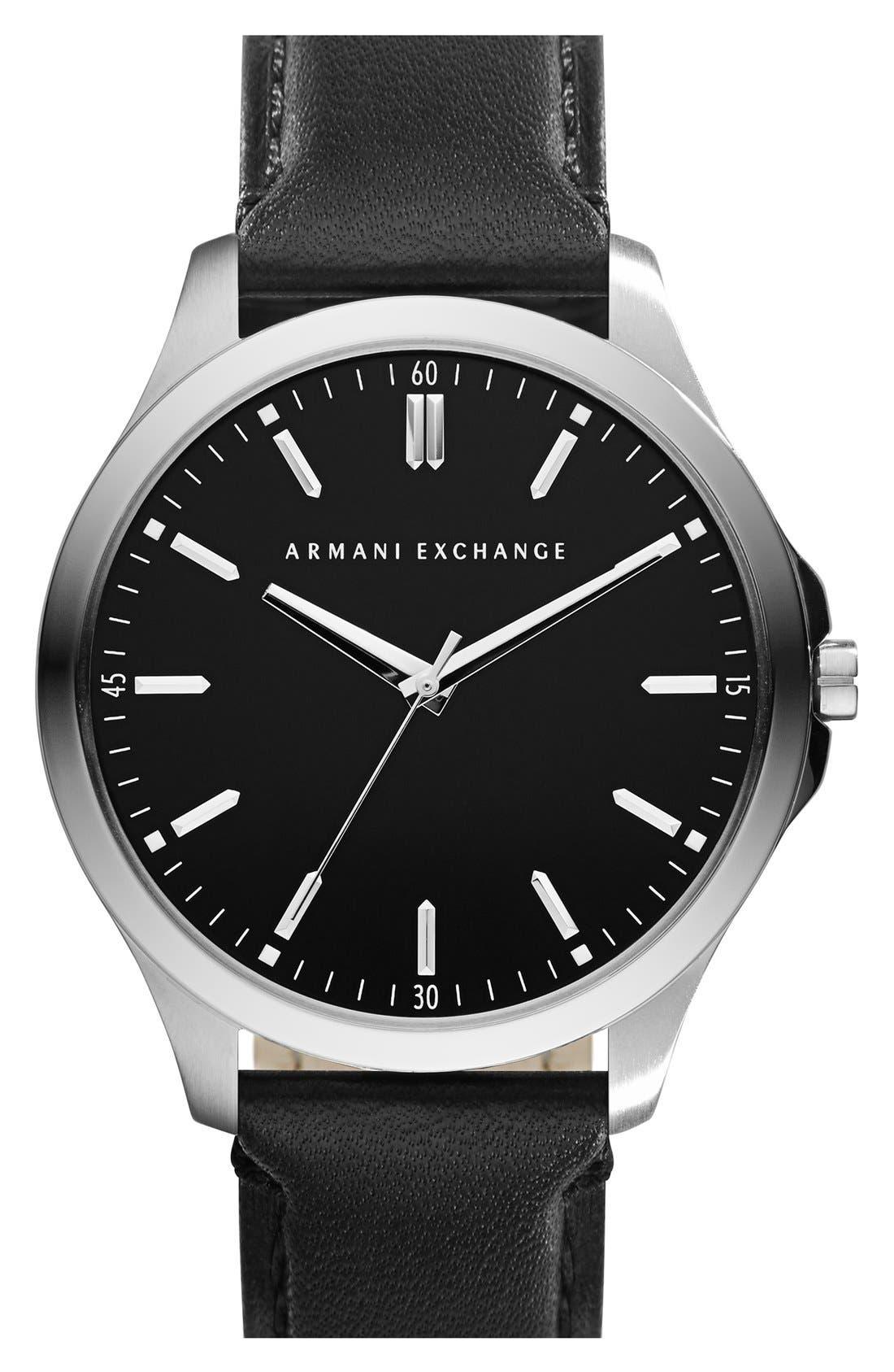 AX Armani Exchange Round Leather Strap Watch, 45mm