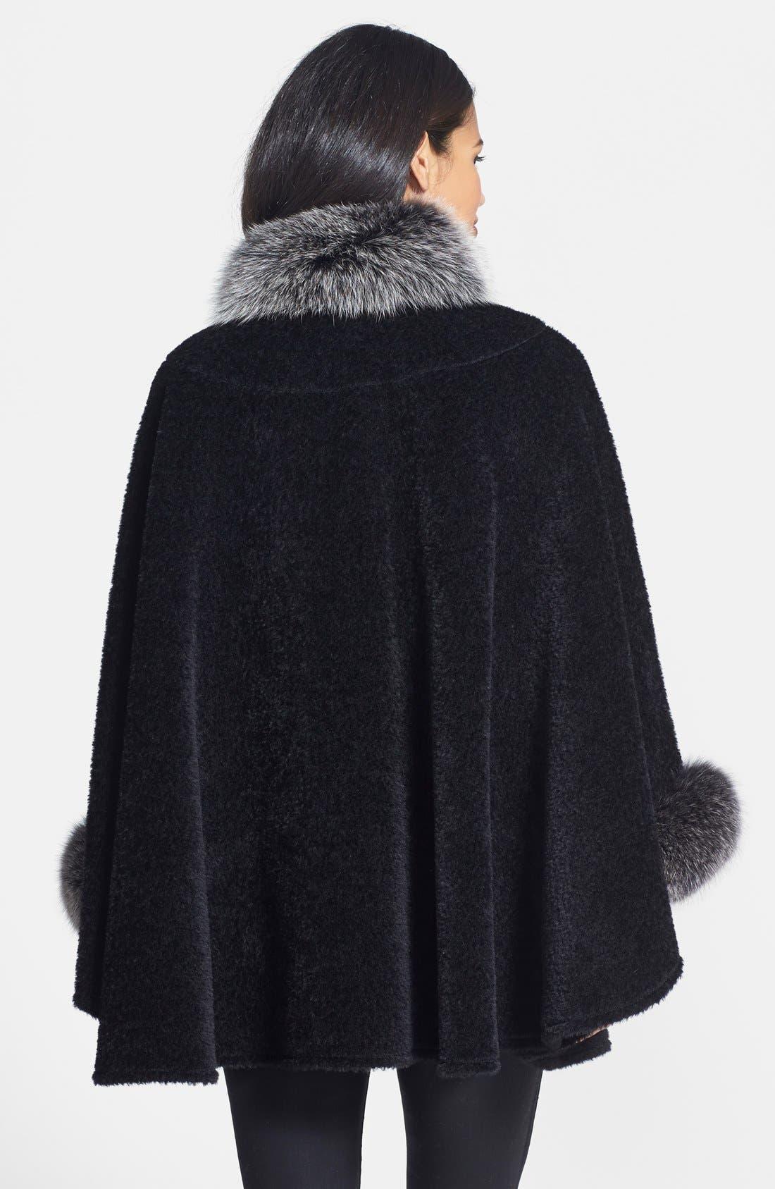 Alternate Image 2  - Blue Duck Genuine Fox Fur Trim Wool Blend Cape