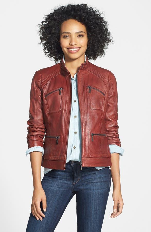 Bernardo Four-Pocket Leather Jacket (Regular & Petite)   Nordstrom