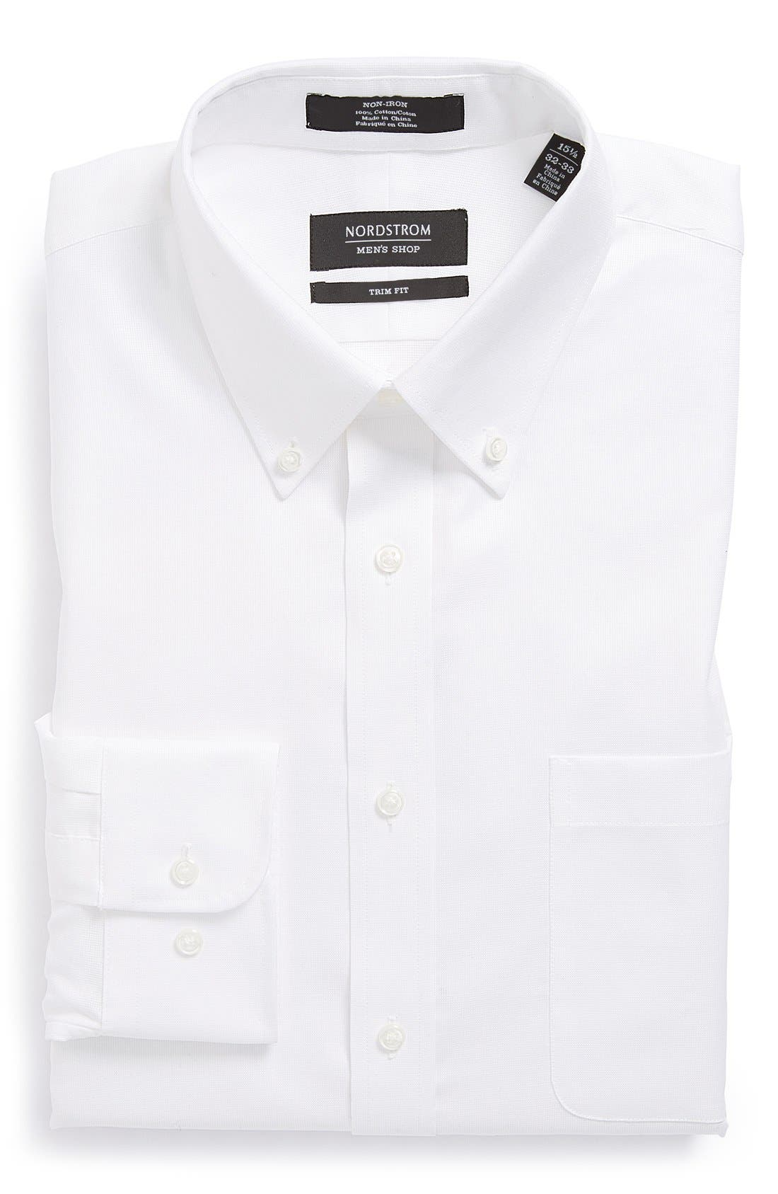 Nordstrom Trim Fit Non-Iron Dress Shirt,                         Main,                         color, White
