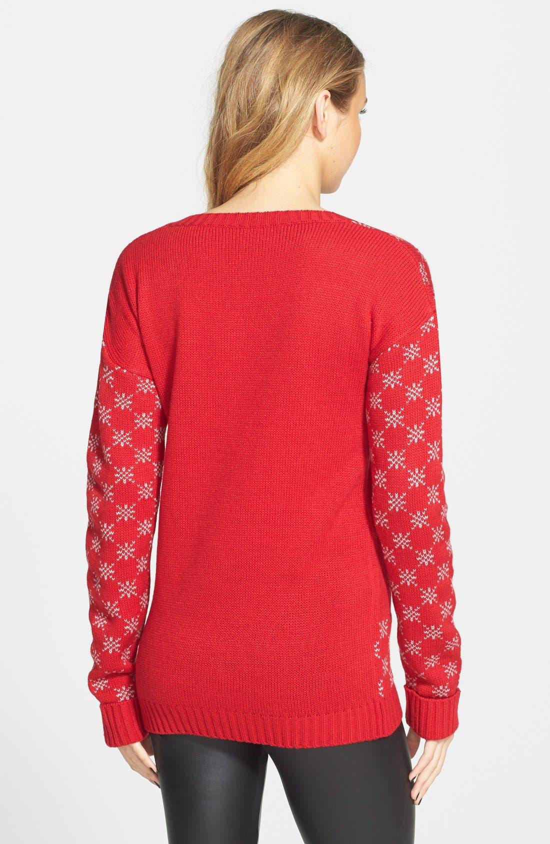 Alternate Image 2  - Derek Heart Reindeer Sequin Sweater (Juniors)