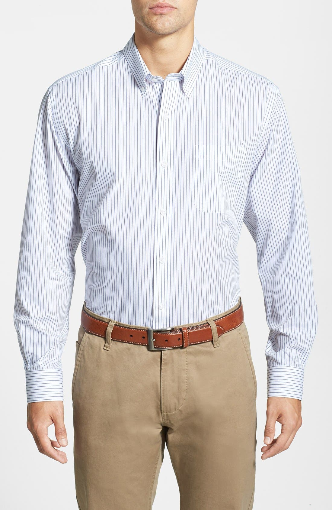 Cutter & Buck 'Epic Easy Care' Classic Fit Vertical Pinstripe Wrinkle Resistant Sport Shirt
