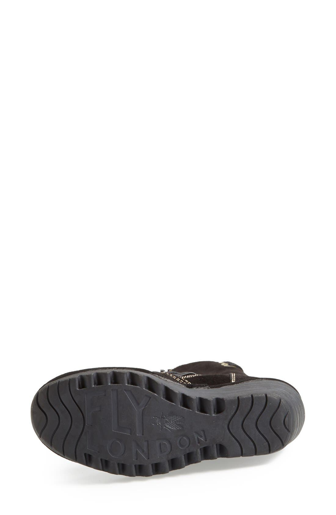 'Yust' Knee High Platform Wedge Boot,                             Alternate thumbnail 4, color,                             Black Suede