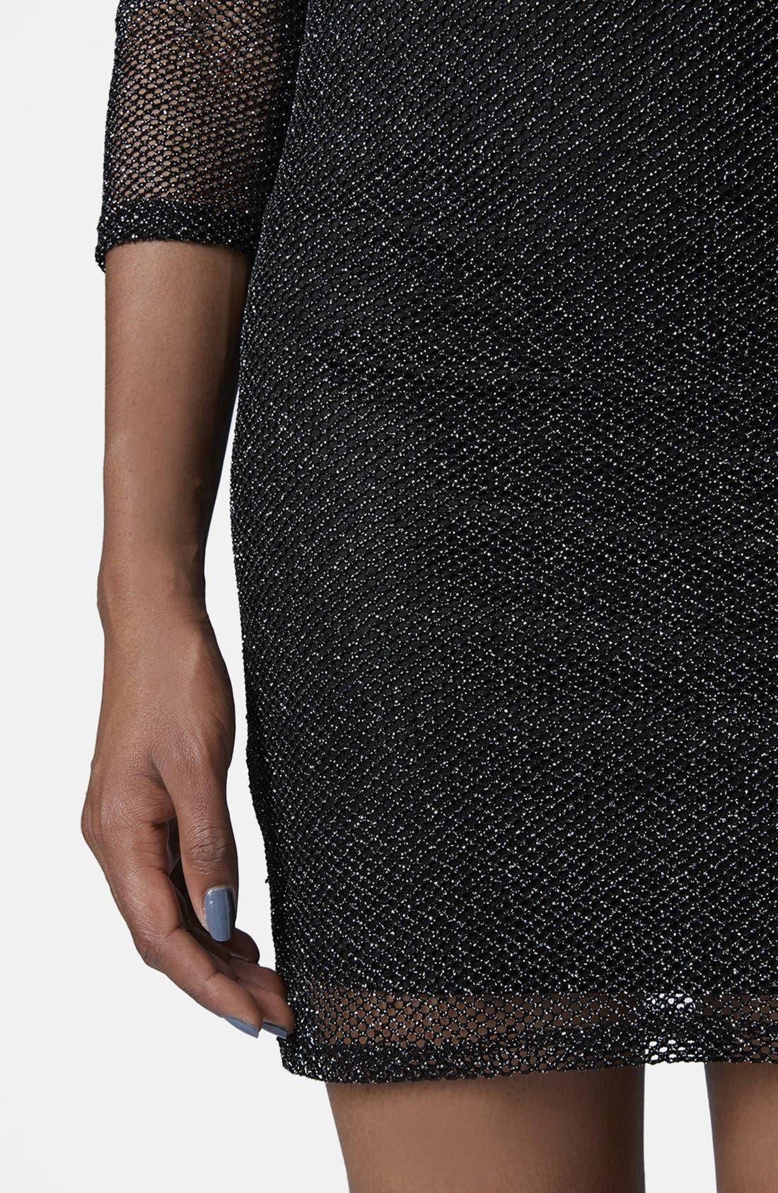 Alternate Image 4  - Topshop Glitter Mesh Body-Con Dress