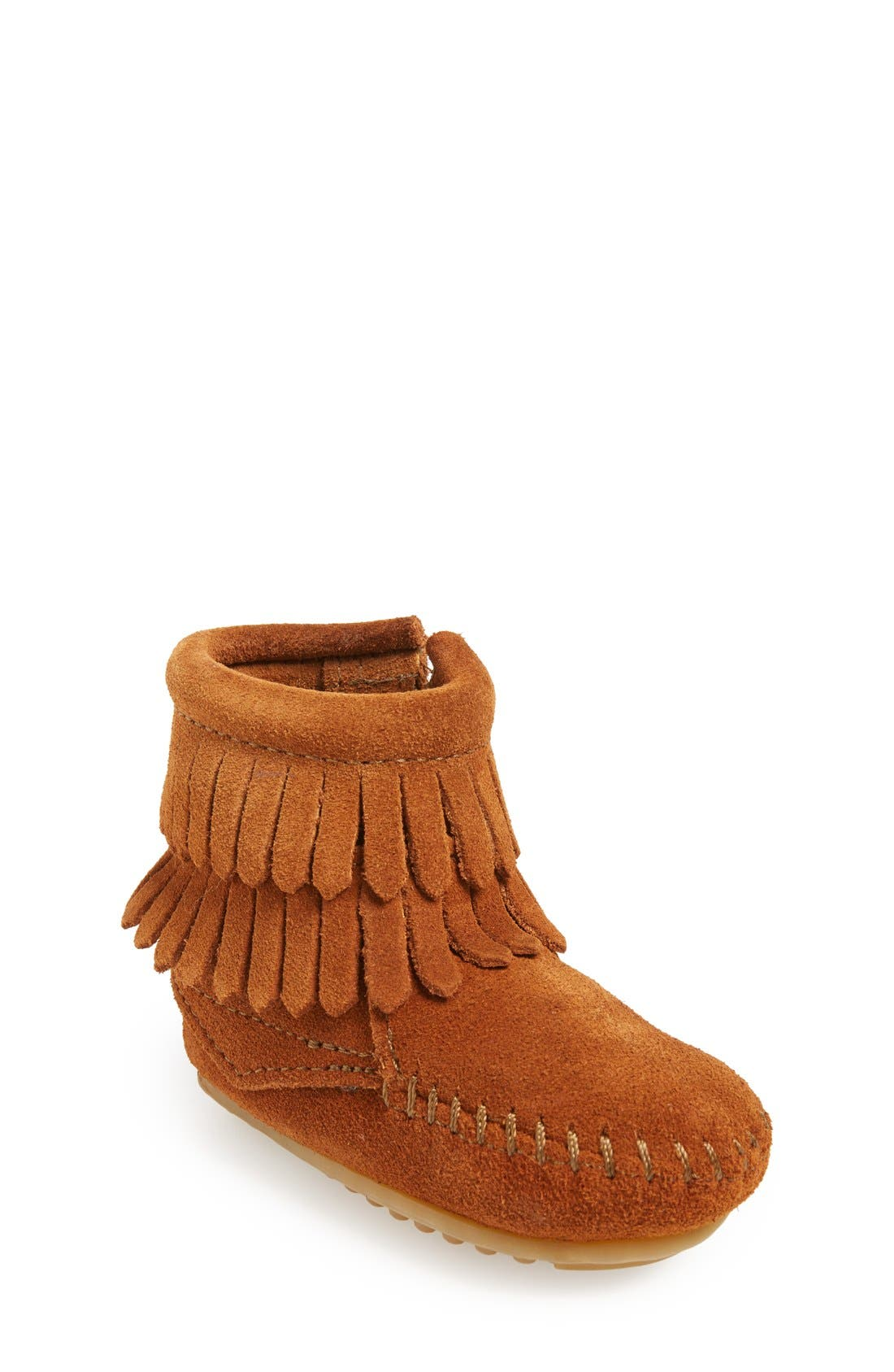 Double Fringe Moccasin,                         Main,                         color, Brown