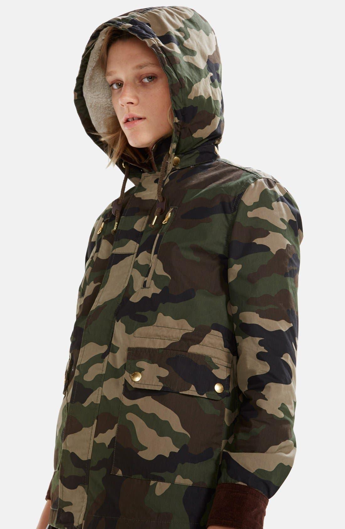 Alternate Image 2  - izzue Hooded Camouflage Jacket (Women)