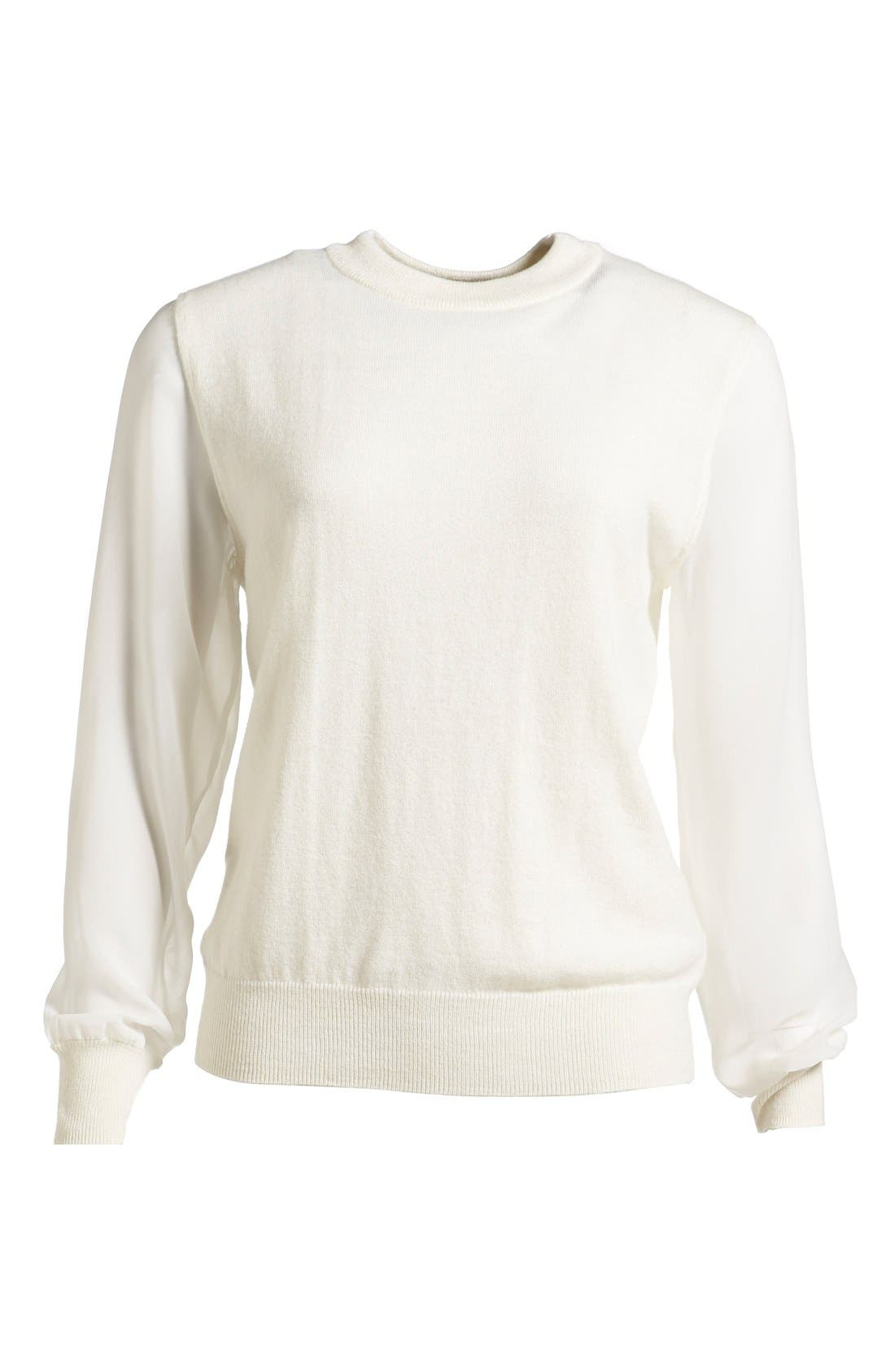 Chiffon Sleeve Knit Pullover,                         Main,                         color, Raw White
