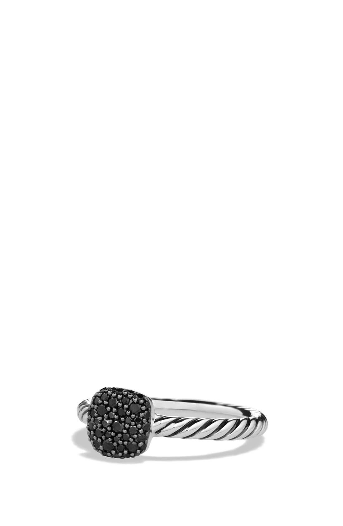 Main Image - David Yurman 'Pavé' Cushion Ring with Black Diamonds