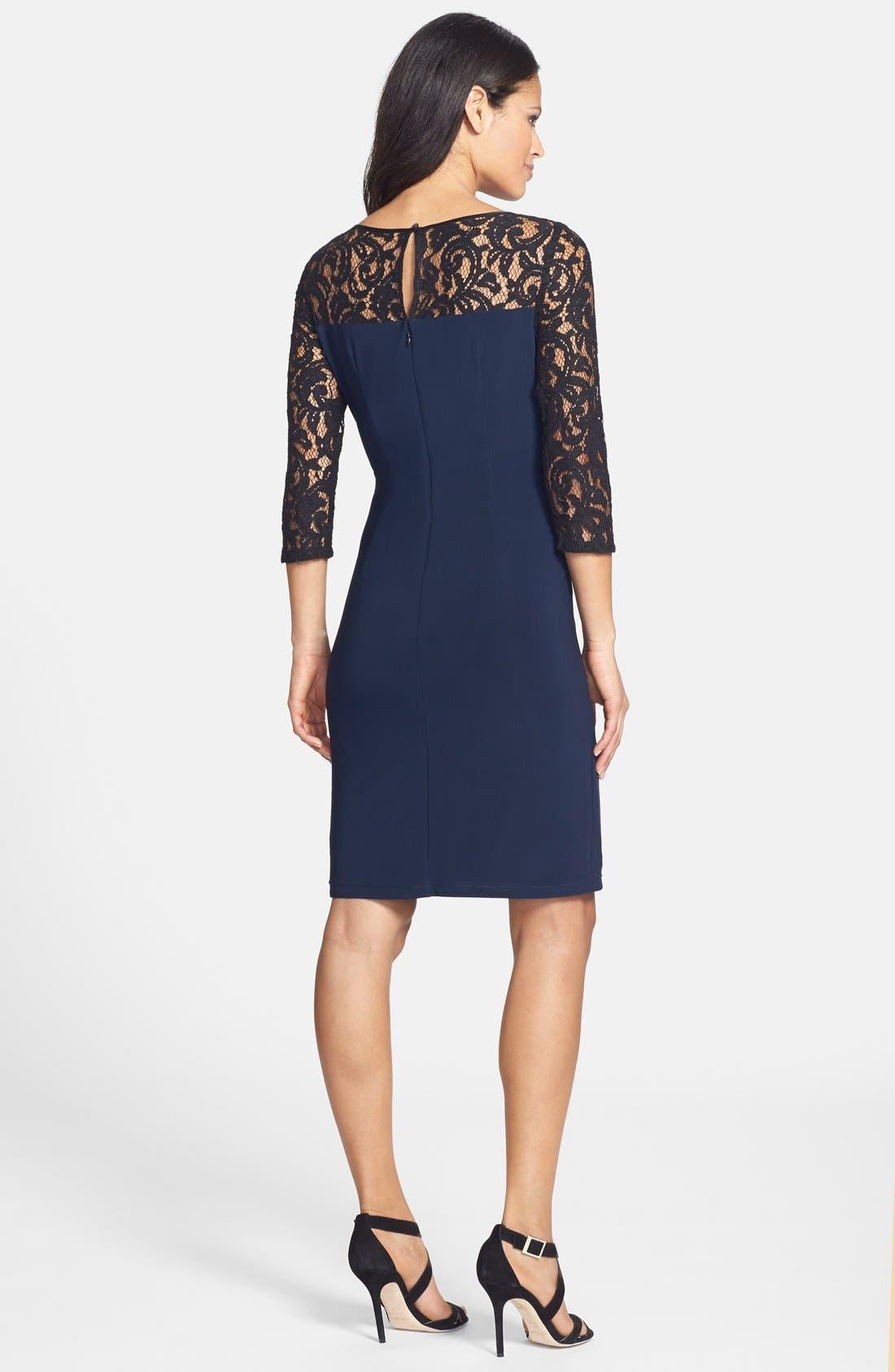 Alternate Image 2  - Adrianna Papell Lace & Jersey Shirred Sheath Dress