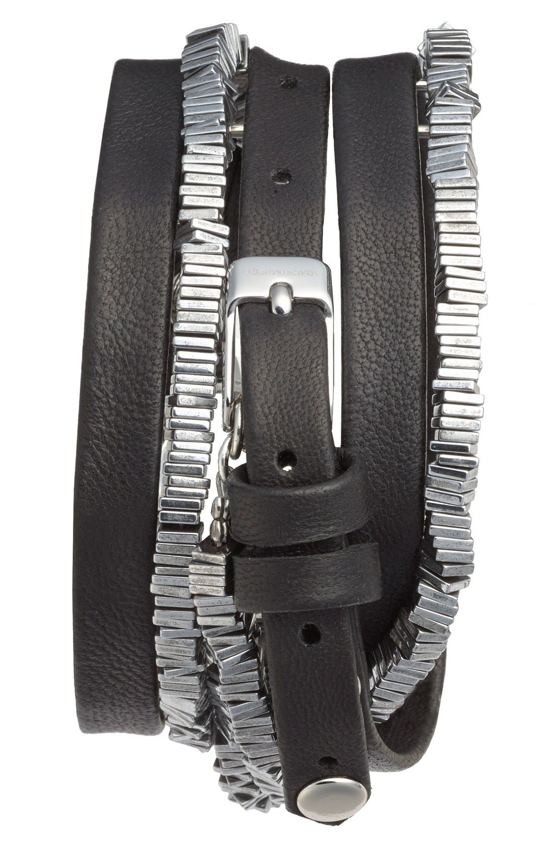 'Highline' Leather & Stone Wrap Watch, 19mm,                             Alternate thumbnail 2, color,                             Black/ Silver