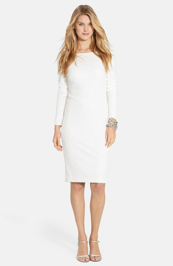Lauren Ralph Lauren Long Sleeve Sequin Mesh Sheath Dress | Nordstrom