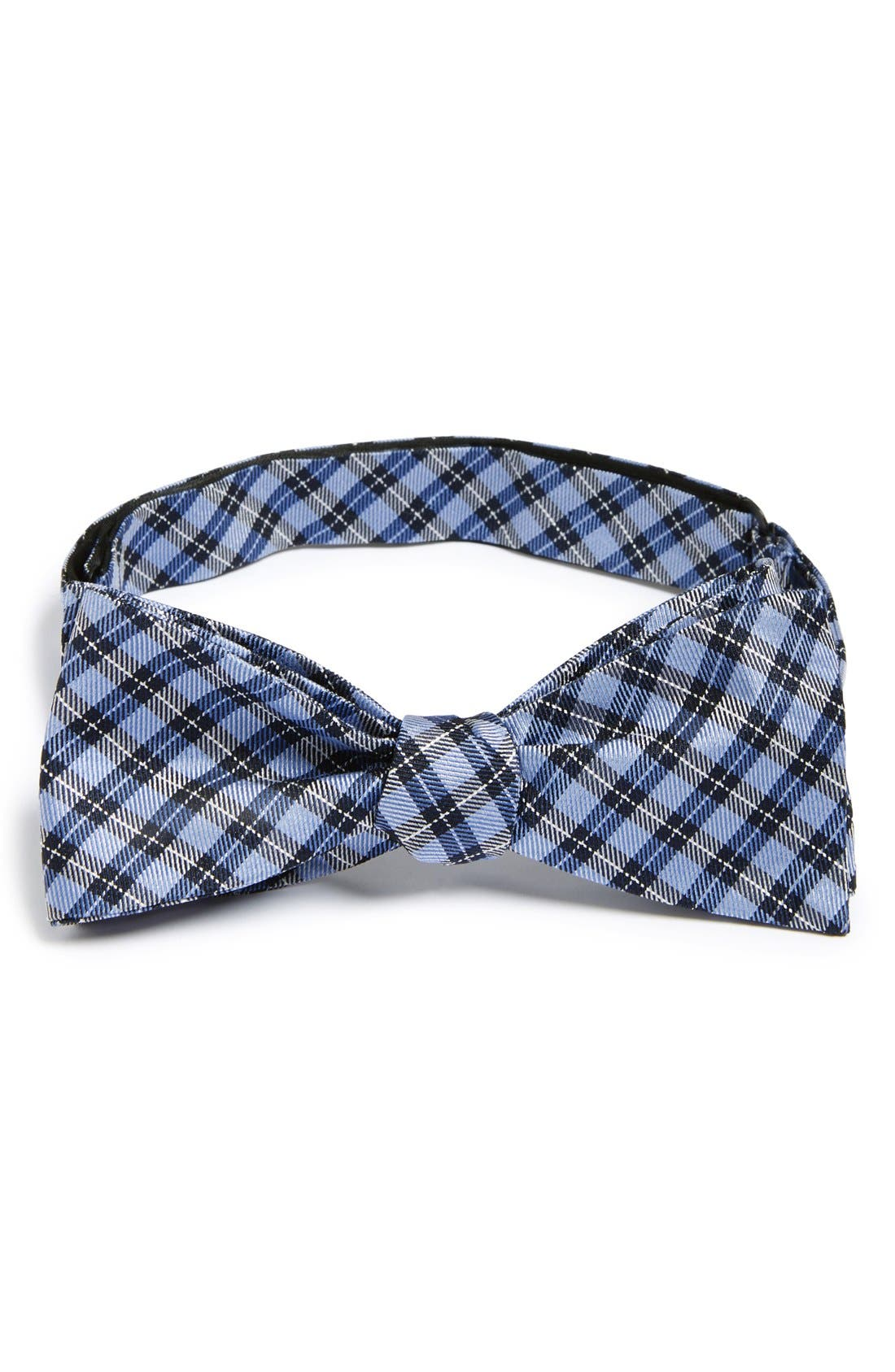'Choi' Check Silk Bow Tie,                         Main,                         color, Blue