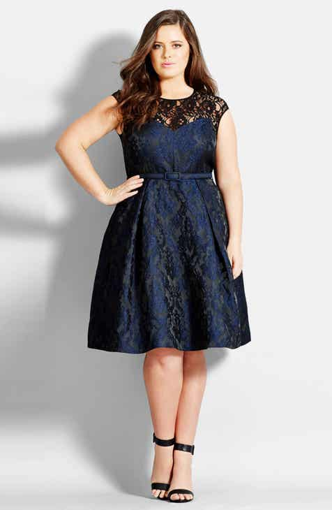 8c3465372d2 City Chic Lace Neck Brocade Dress (Plus Size)
