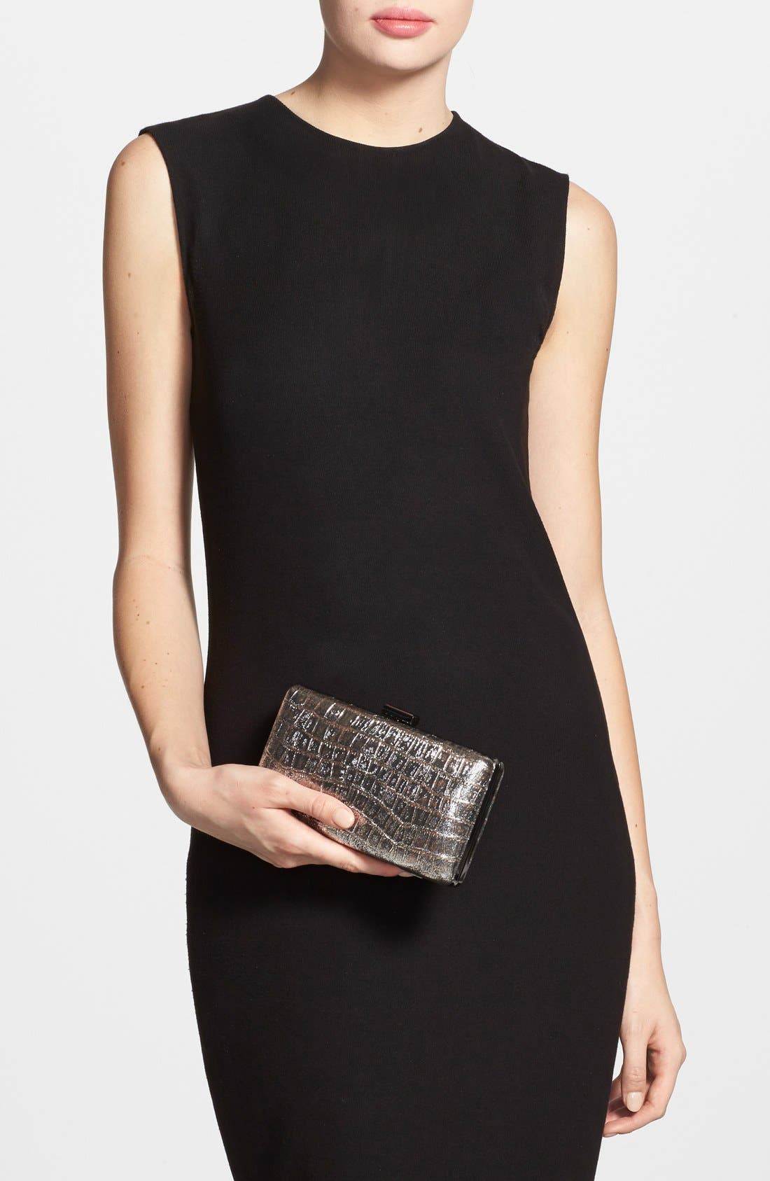 Alternate Image 2  - Natasha Couture Croc Embossed Box Clutch