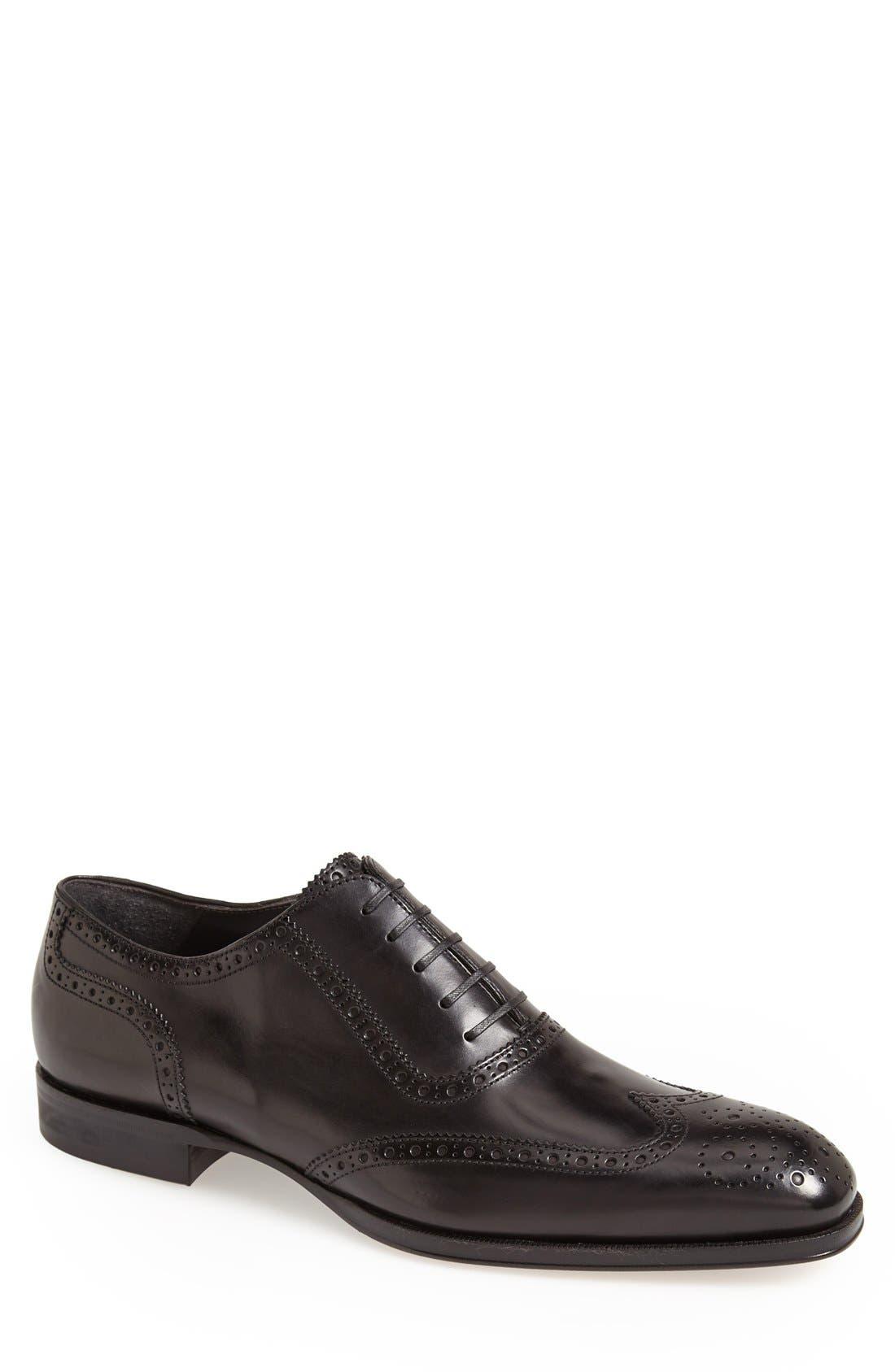 'Duke' Wingtip,                         Main,                         color, Black Leather